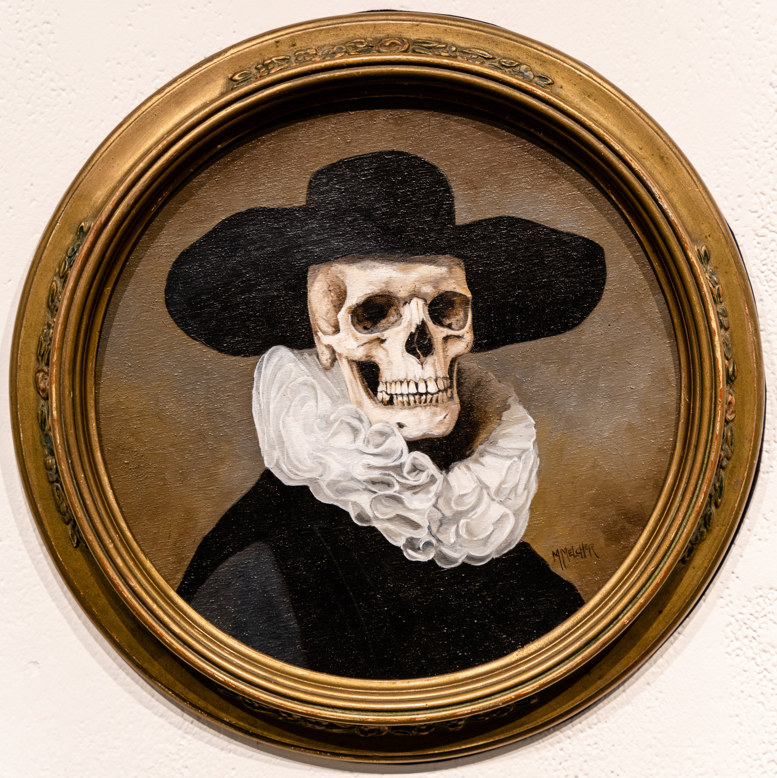 "Man with Hat, 2019, oil on birch wood in antique Victorian frame, 9"" diameter, $850, by Michele Melcher, in the group portrait exhibition Onward at La Luz de Jesus gallery in Los Angeles on Friday, May 3, 2019. Melcher's husband Brian Isserman described that they shop for the antique frames first, then prepare a wood panel to fit the frame, and then Melcher begins her painting. Two shows are running at La Luz de Jesus from May 3 to June 2: Matthew Couper's solo exhibition In Memory of Water, and the group portrait show Onward featuring artists Michele Melcher, Baldur Helgason, Yeo Kaa, Valery Pobjoy, and Sung Jik Yang. (Glenn Zucman/The Corsair)"