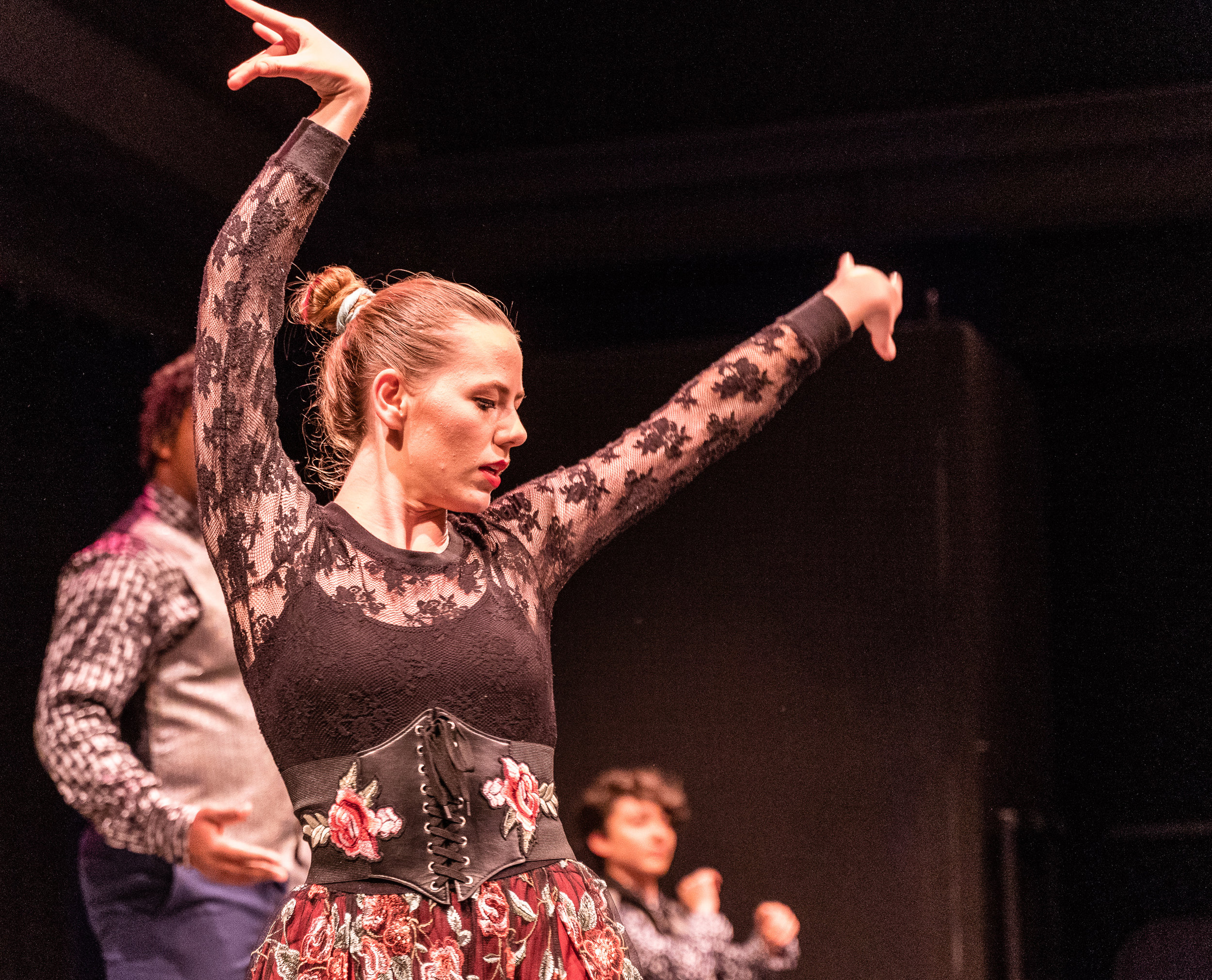 Charlotte Robinson (Lead Singer) dances through an early scene in the tech rehearsal for Flamenco Macbeth on the SMC Studio Stage on Tuesday, April 23, 2019. Flamenco Macbeth is an adaptation from Shakespeare by SMC Theatre Arts department chair Perviz Sawoski. Performances are in the SMC Studio Stage on April 26, 27, 28, and May 3, 4, 5. (Glenn Zucman/The Corsair)