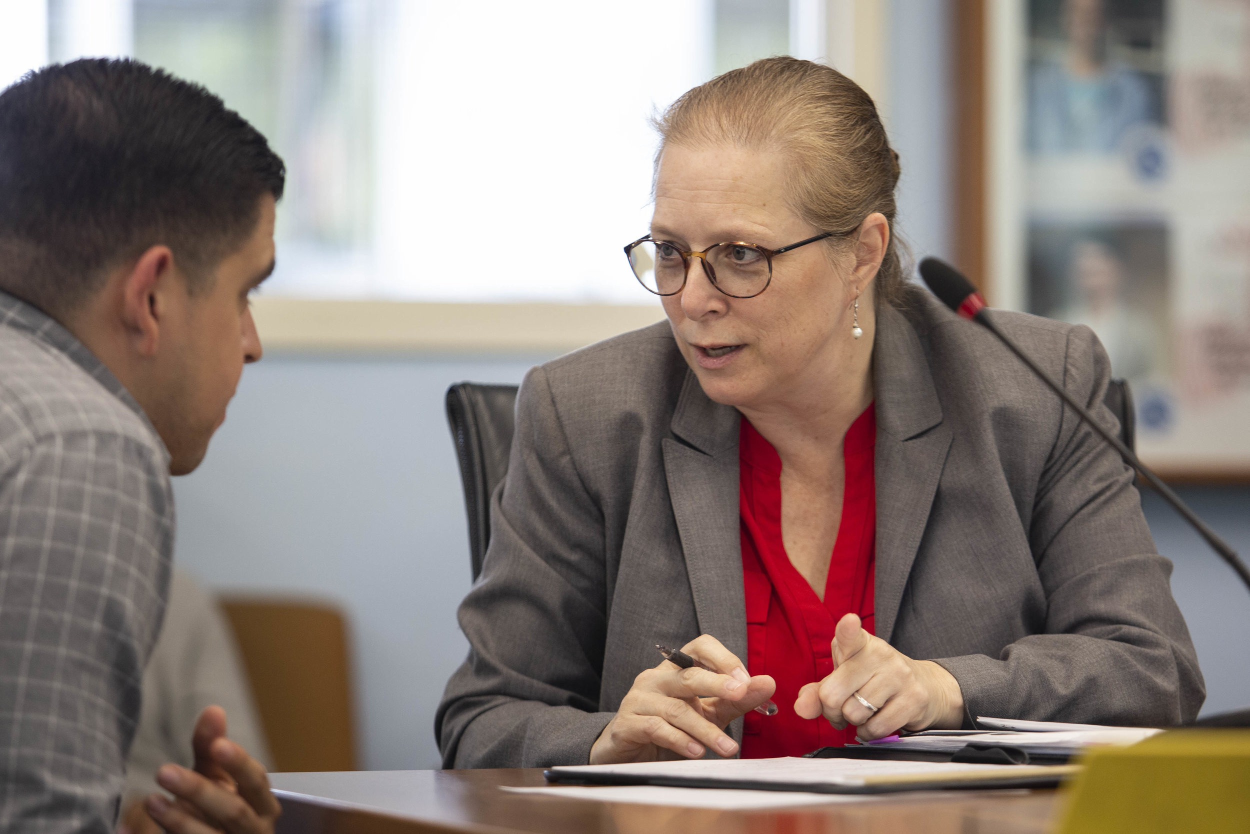 Associate Dean of Students Affairs Dr. Nancy Grass, during the Associated Students (A.S.) budget meeting on Monday May 13, 2019 at Cayton Hall, on the main Campus of Santa Monica College in Santa Monica, Calif. (Yasamin Jtehrani / The corsair)