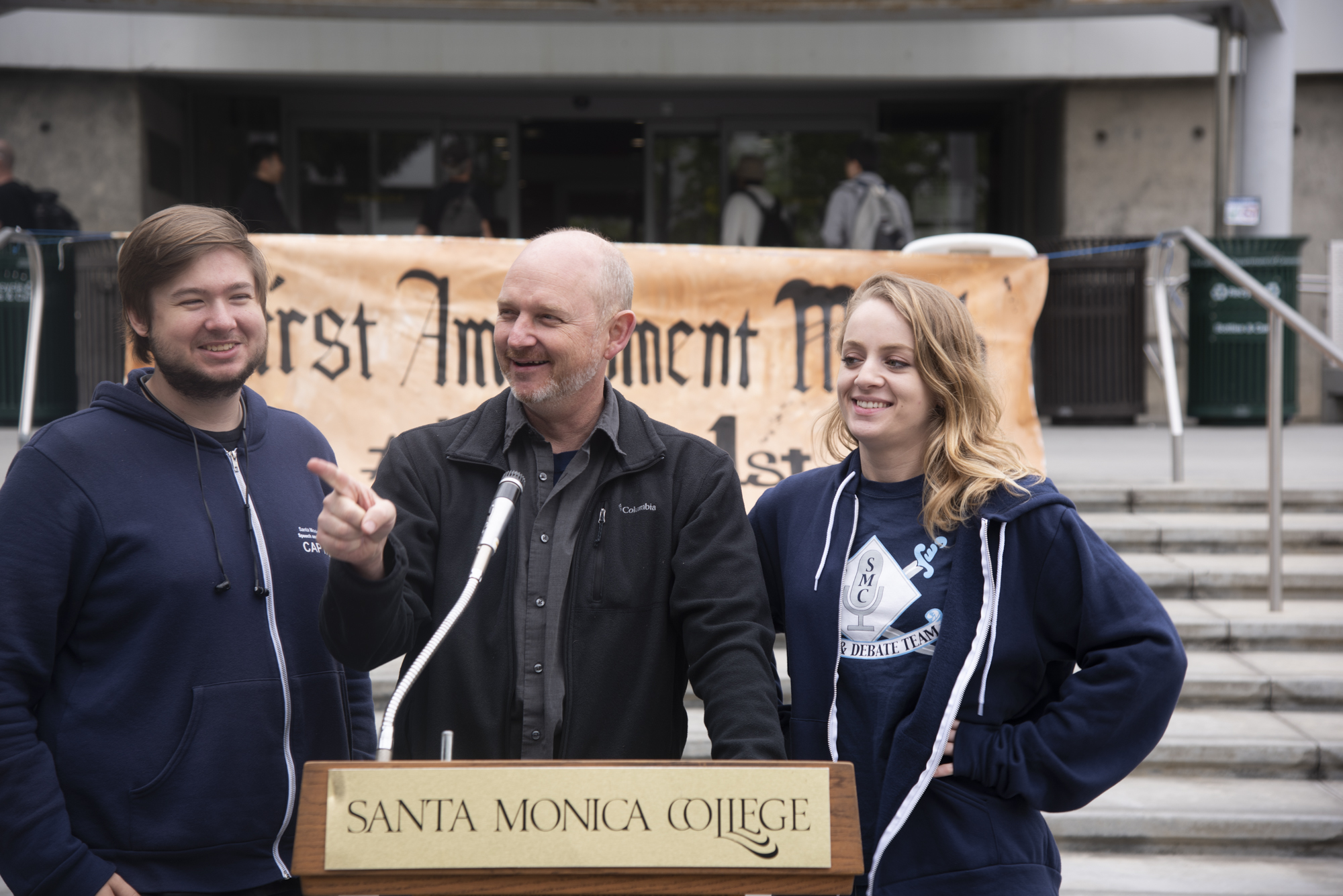 On May9 2019 at Santa Monica college in front of the library it was first amendment  mouth he Male debater was Dominic Smith, 25 econ major. The female debater was Shaindi Schwebel, 24 anthropology major. The teacher was Nate Brown and he is a communications professor