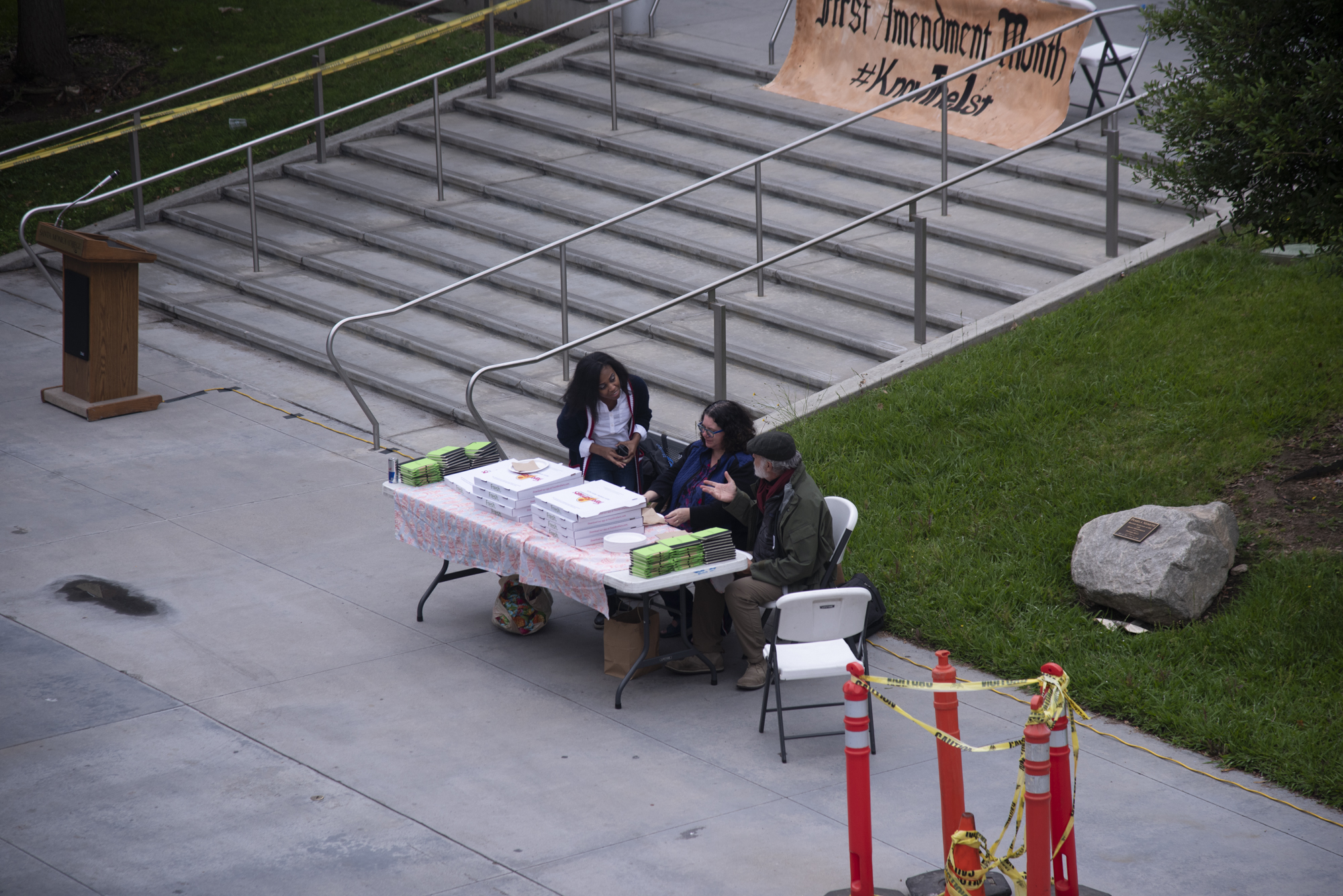 On May9 2019 at Santa Monica college in front of the library it was first amendment  mouth instructors