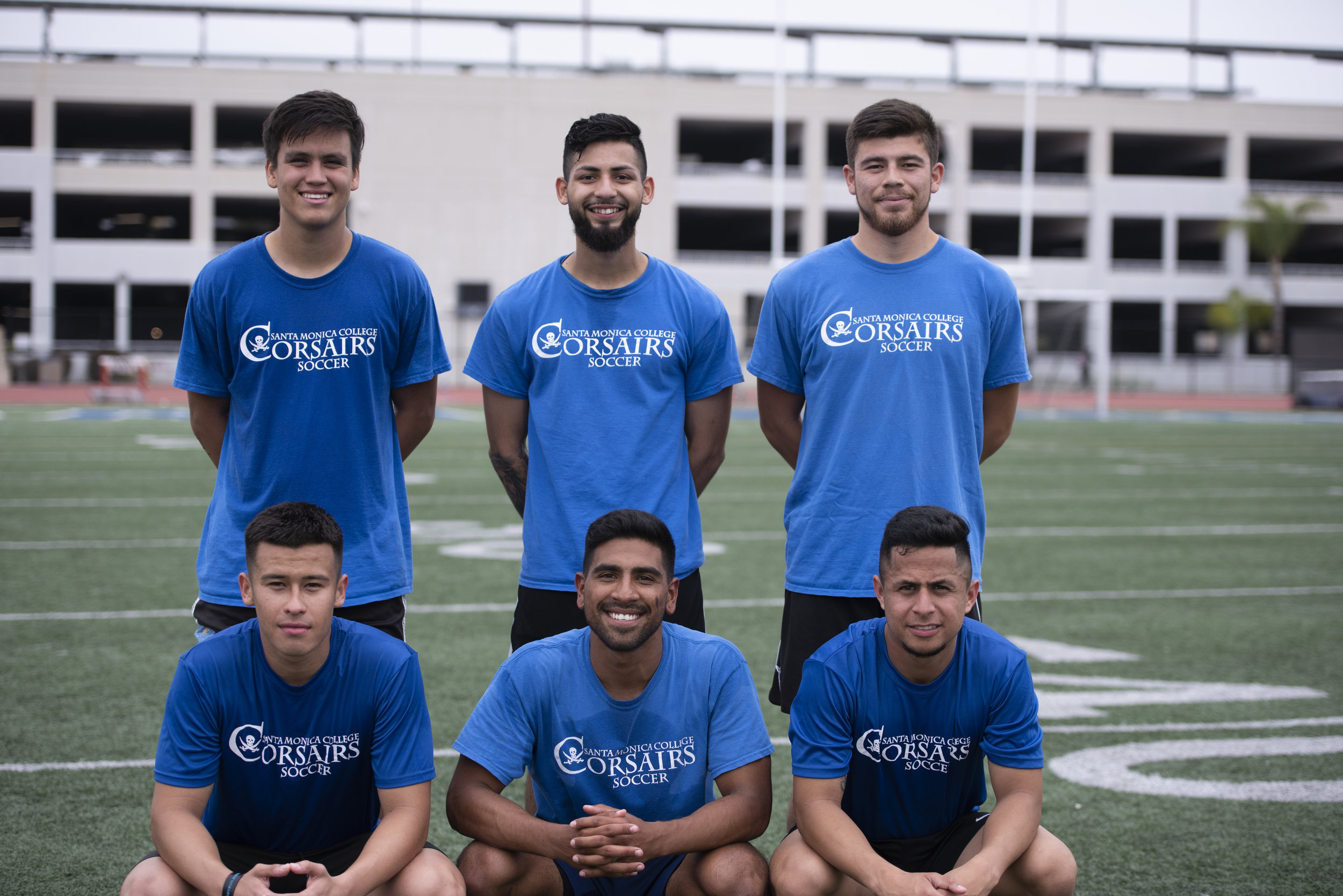 .From top to bottom: Cesar Oliva, Giancarlo Canas-Jarquin, Ruben Soria, Oscar Palacios, Narcisco Cervantes and Juan David Torres prepare to start their weekly practice on the Corsair Field, Tuesday, May 14, in Santa Monica. (Photo by Clyde Bates/Caption by Cristian Vasquez/The Corsair)