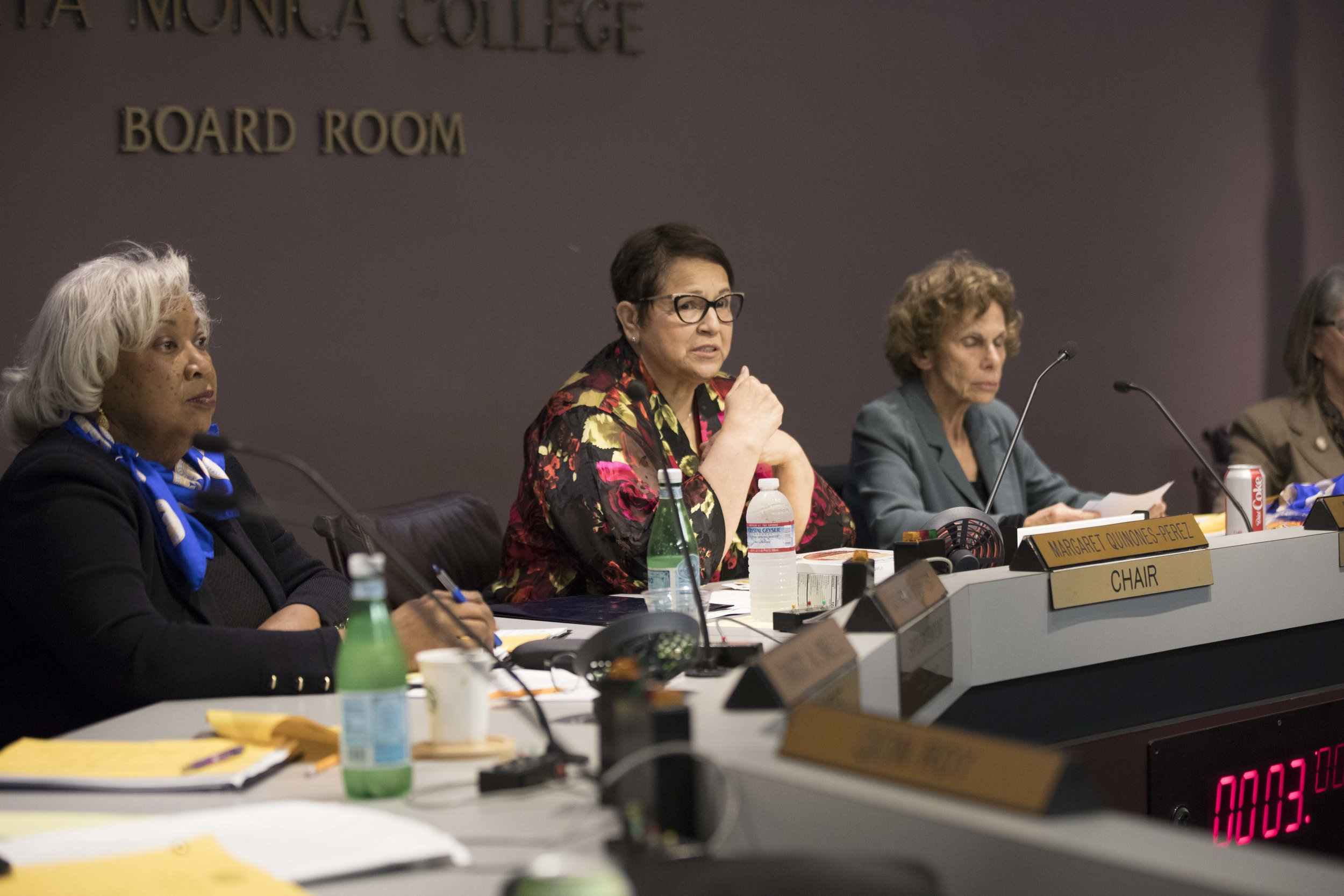 President and Superintendent of Santa Monica College, Kathryn E. Jeffery and Chair Margaret Quinones-Perez at the Board of Trustees Meeting at Santa Monica College in Santa Monica, California on Tuesday April 2, 2019. Photographer (Tanya Barcessat / The Corsair)