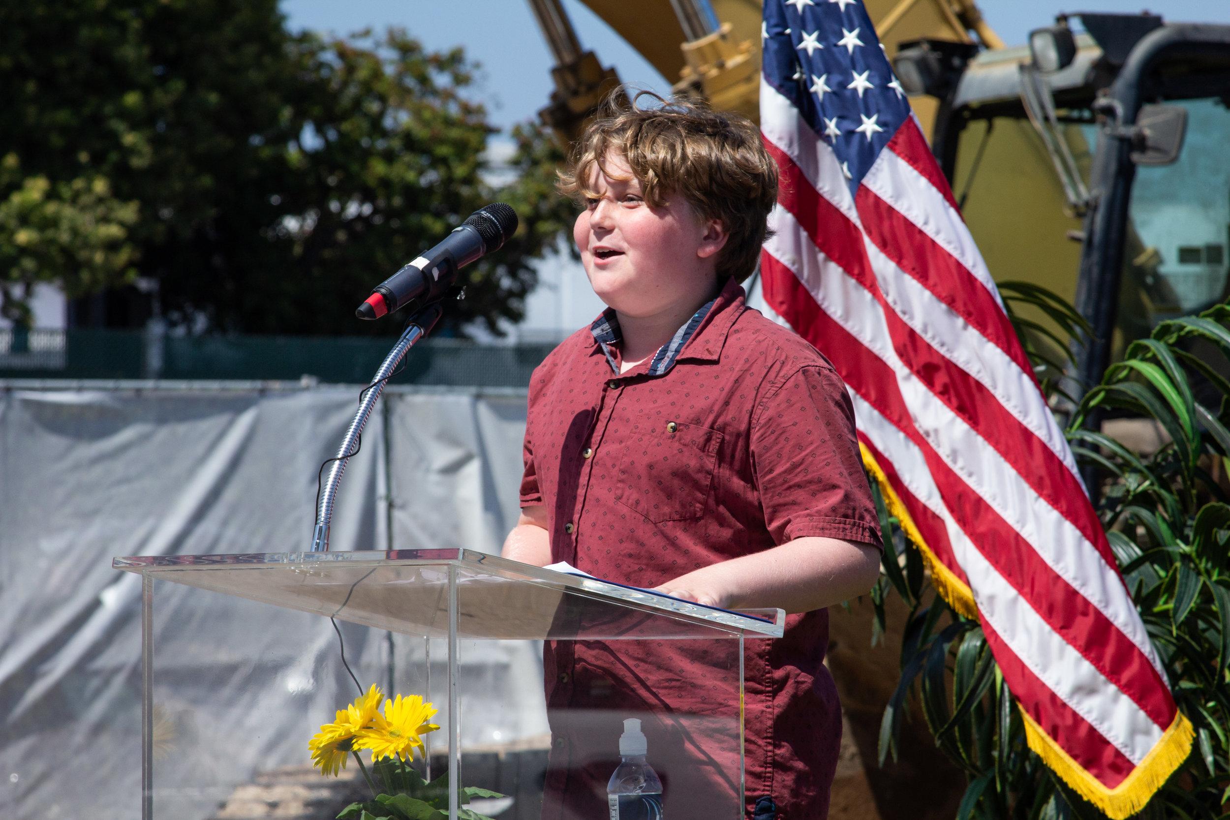 John Adams Middle School student Waldon Sullivan speaks at the groundbreaking ceremony for the John Adams Middle School Performing Arts Complex in Santa Monica, California, on Wednesday, August 28th. 2019. (Marco Pallotti/ The Corsair)