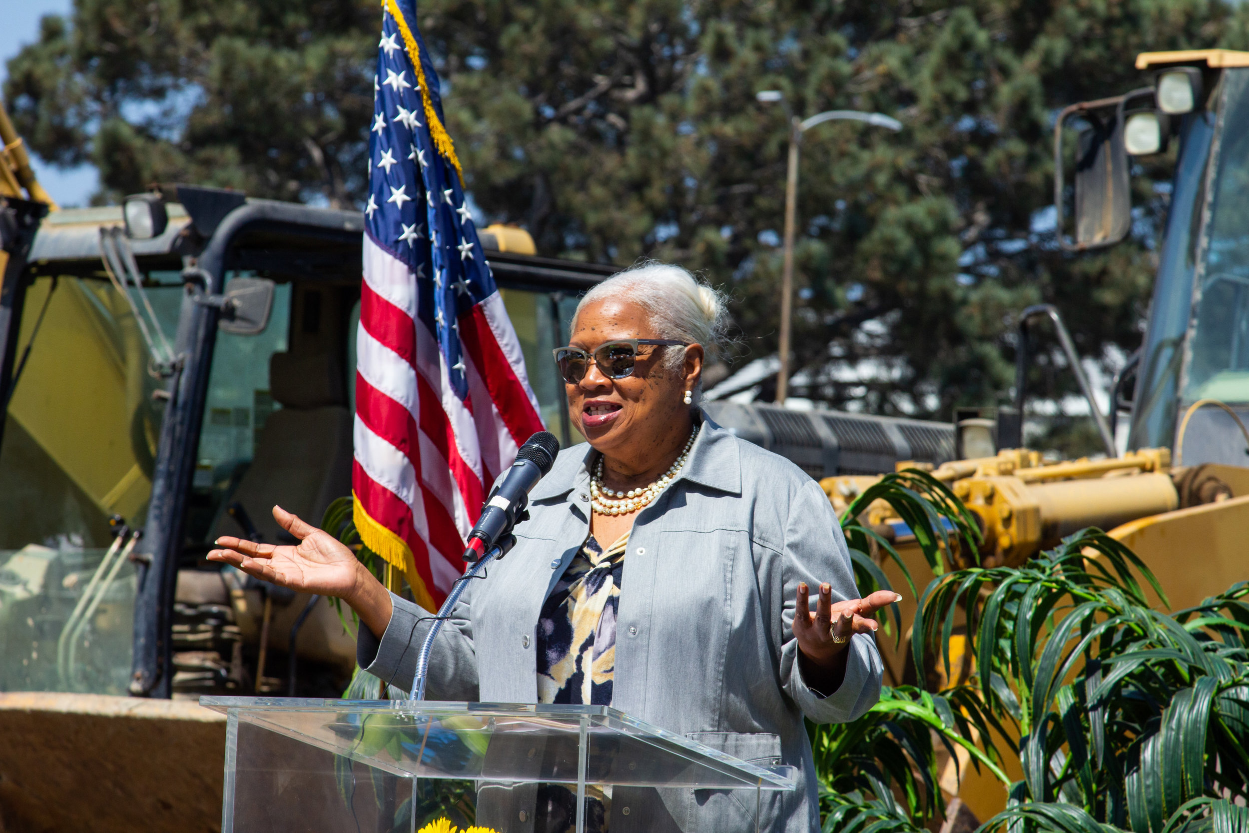 Santa Monica College President & Superintendent Dr. Kathryn Jeffery speaks at the groundbreaking ceremony for the John Adams Middle School Performing Arts Complex in Santa Monica, California on Wednesday, August 28th, 2019.