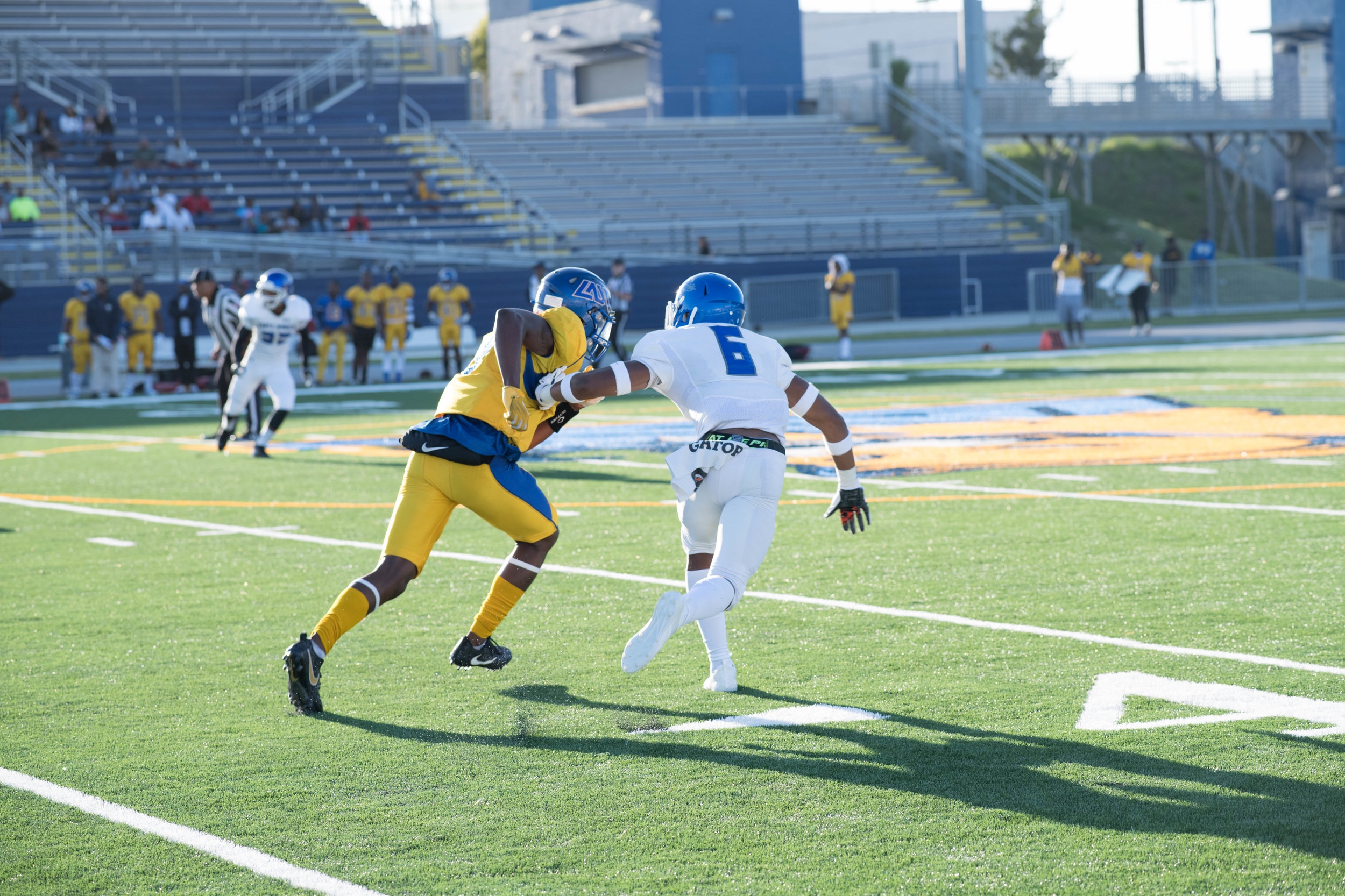 #6 Juston David defending against one of Southwest receivers.(Photo by Kevin Tidmore/The Corsair)