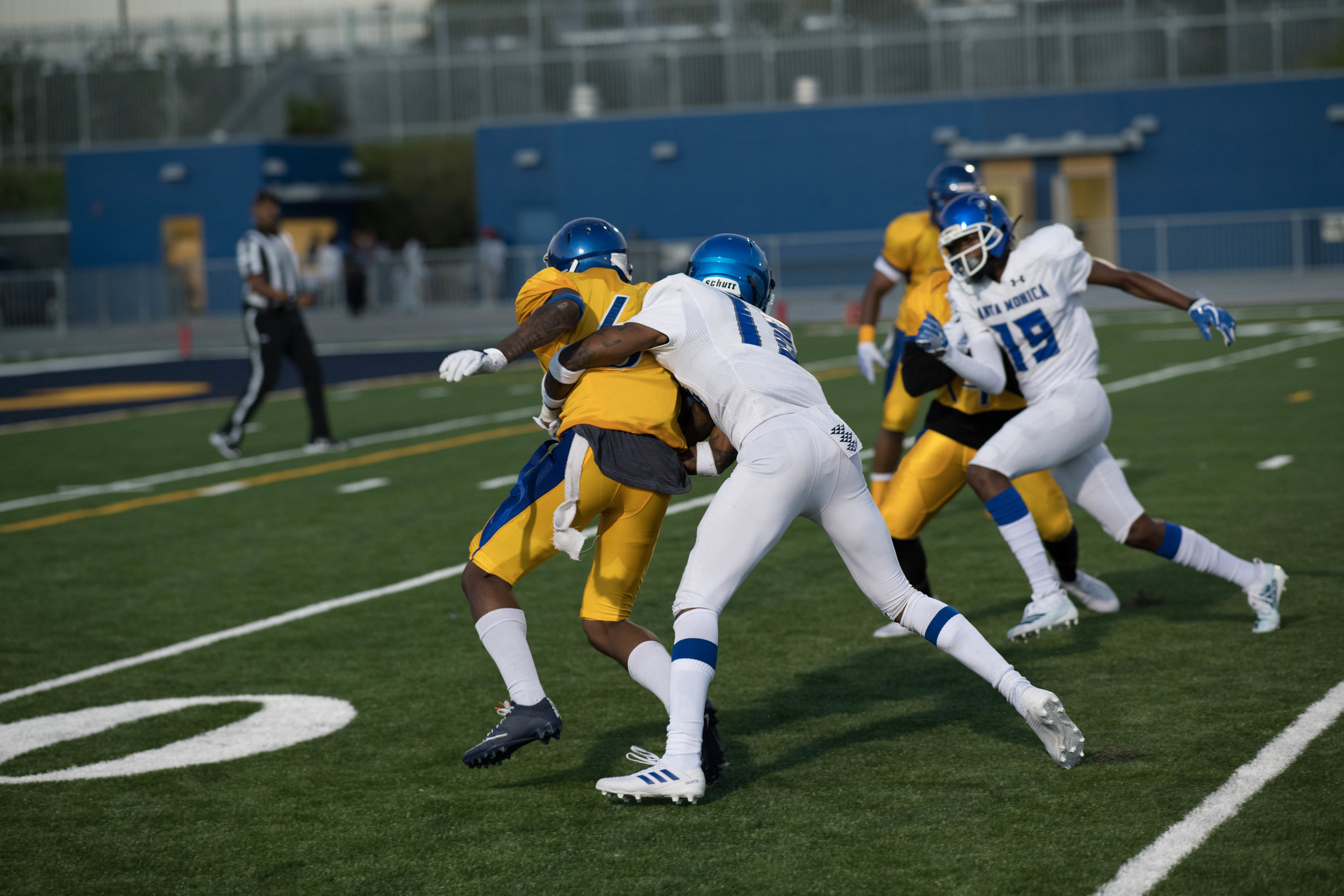 #18 Jardon Quarterman makes a tackle on one of Southwest receivers after the catch.(Photo by Kevin Tidmore/The Corsair)