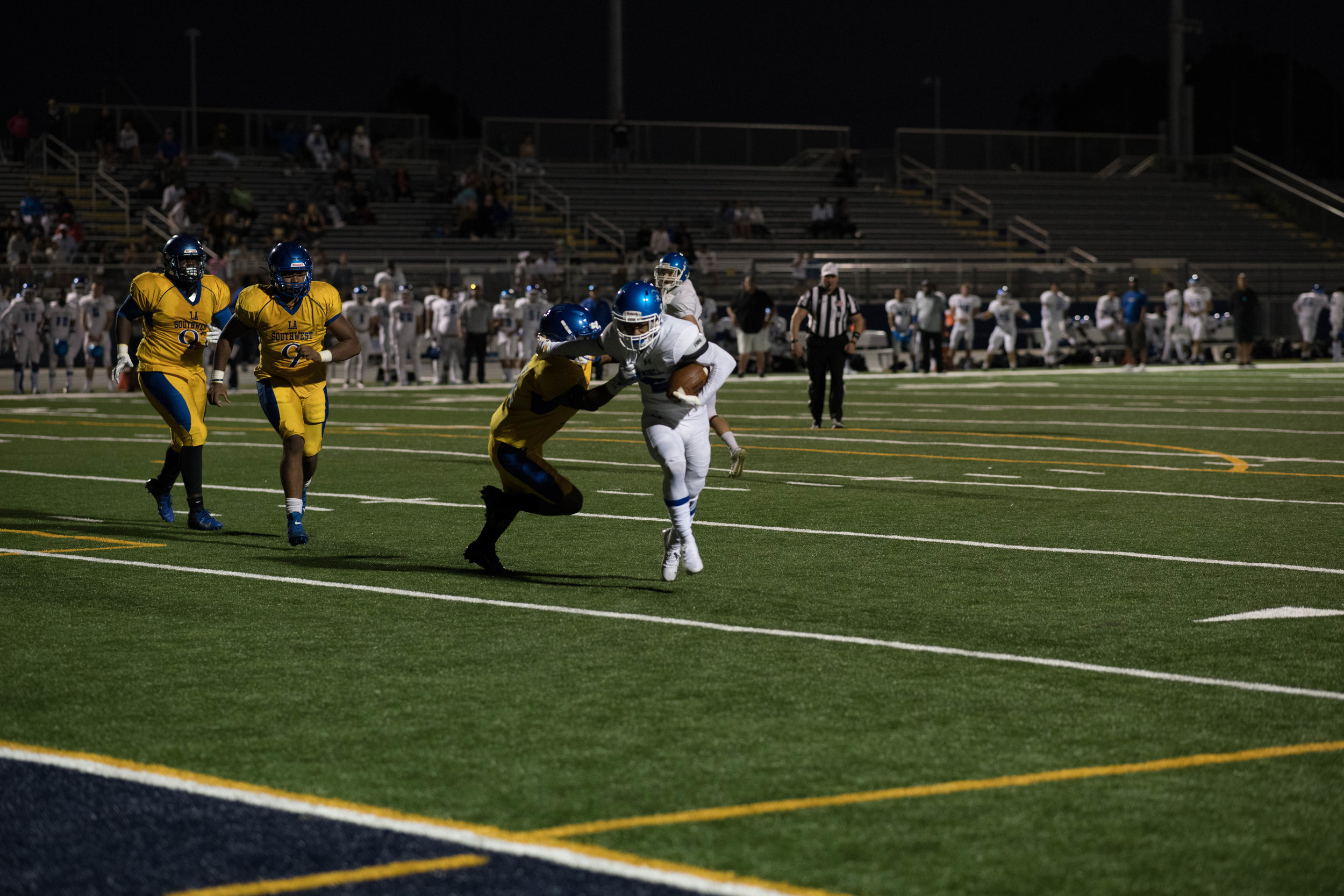 #2 Melvin Hicks sheds off a tackle from a Southwest defender as he makes his way to a touchdown.(Photo by Kevin Tidmore/The Corsair)