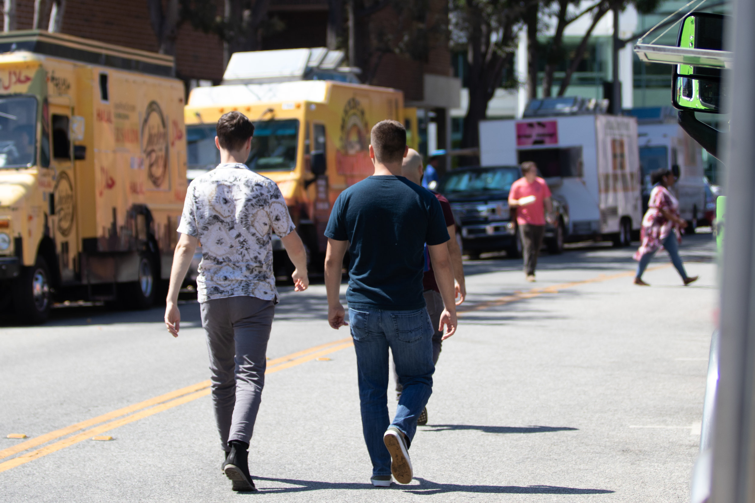Two men walking along Pennsylvania Avenue in Santa Monica, California on September 5th, 2019. (Fernando Duran/The Corsair)