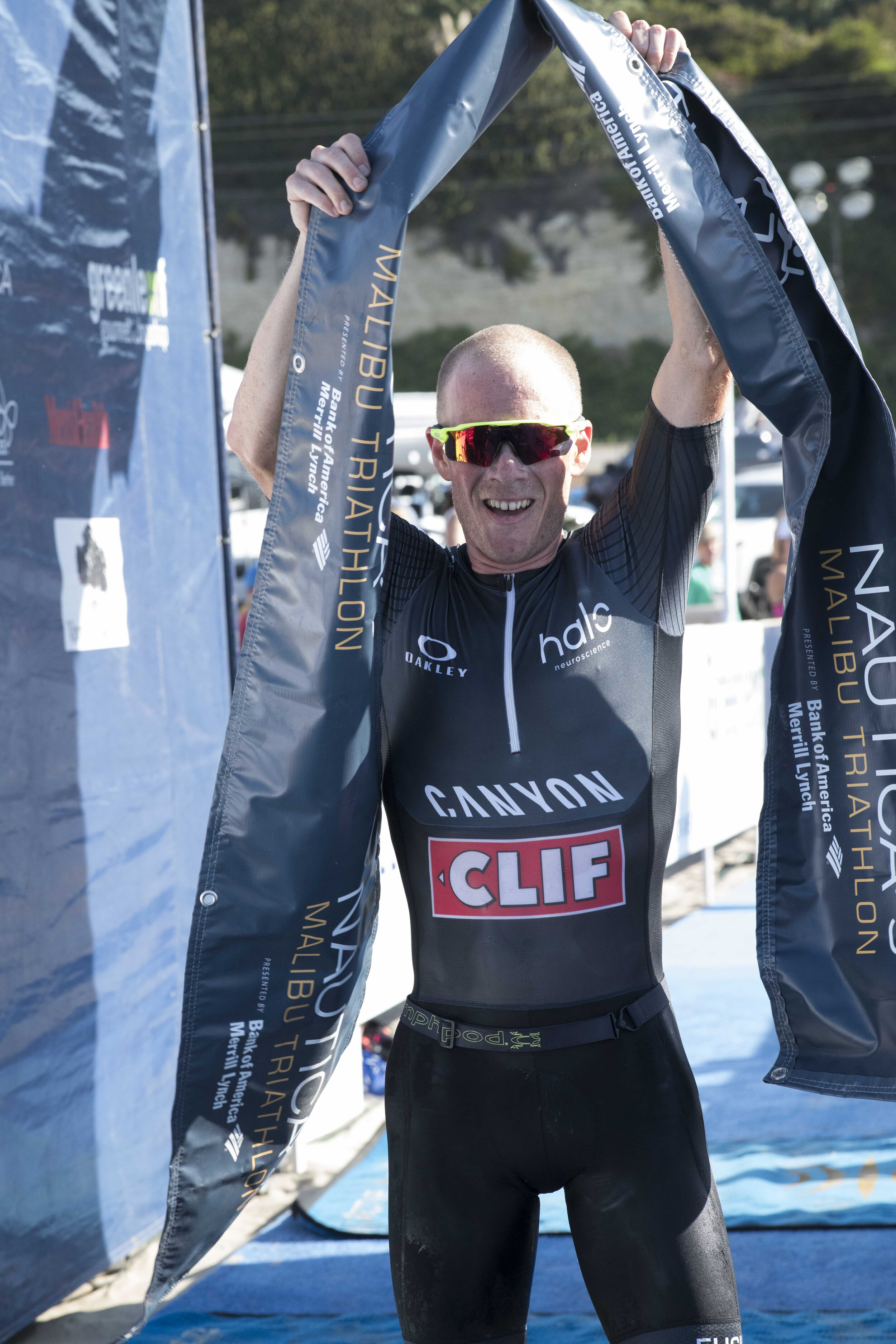 Andrew Talansky celebrates after winning the Olympic Distance Course at the 33rd Nautica Malibu Triathlon on Zuma Beach in Malibu, Calif. on Saturday, September 14, 2019. (Photo by Kevin Tidmore/The Corsair)