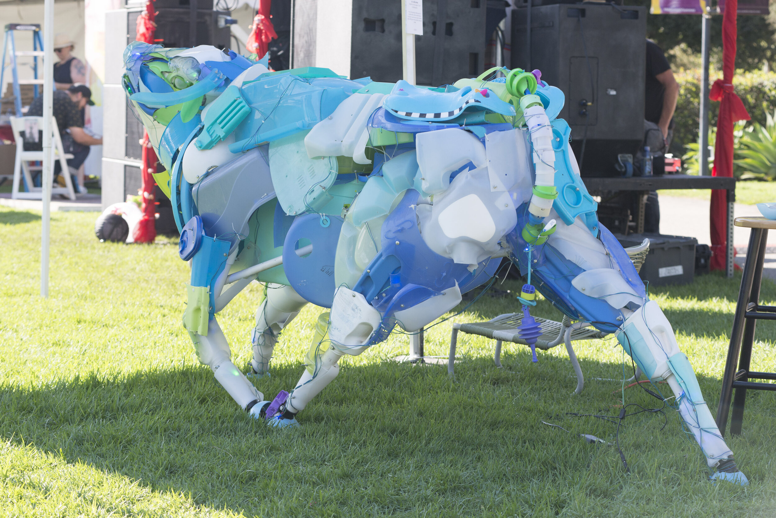 An Ox Sculpture assembled from found plastic materials on by artist Cynthia Minet on display at Tarfest on September 14, 2019.  (Anthony Mayan/The Corsair).