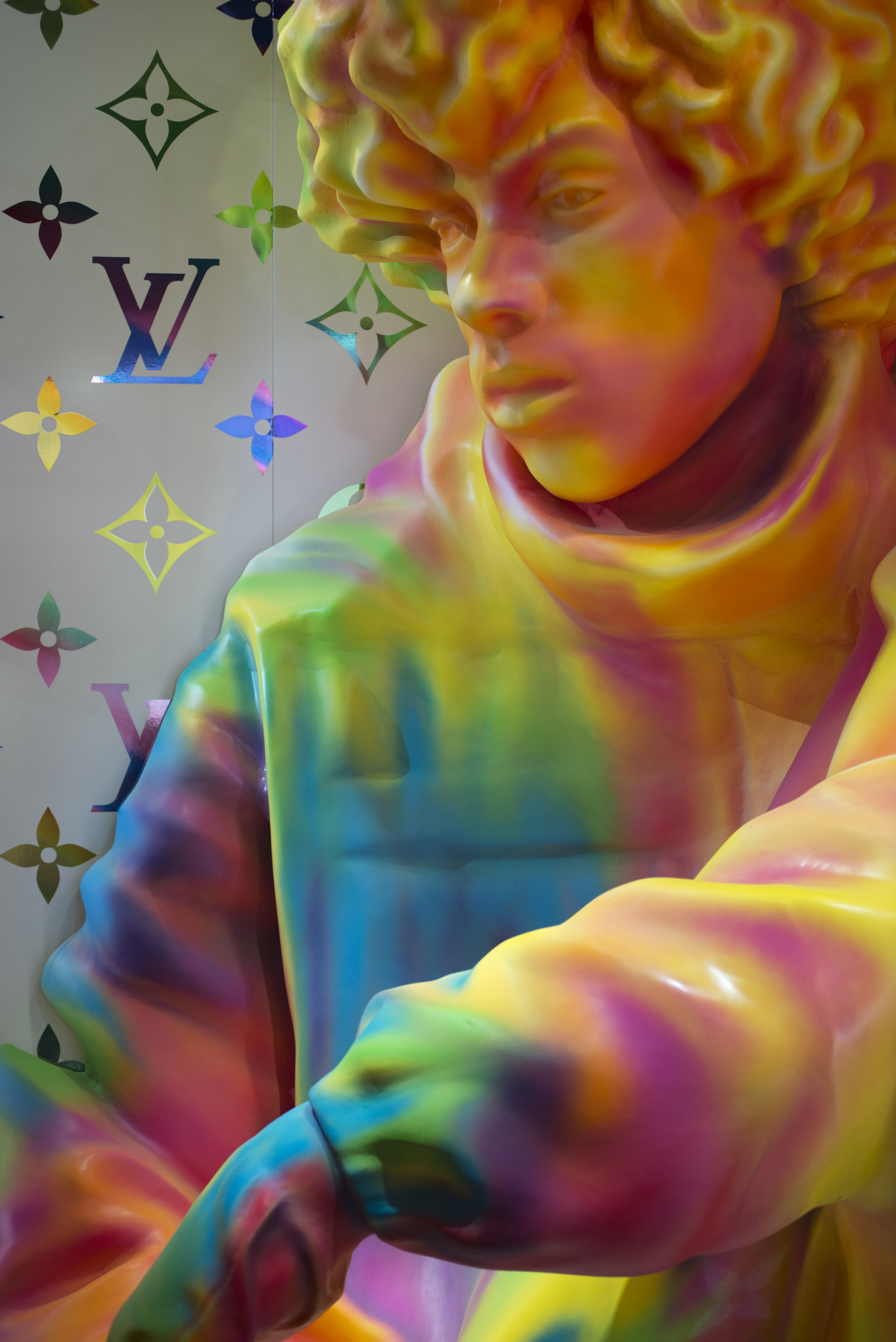 Artistic Director of Louis Vuitton's Virgil Abloh's famous technicolor statue. Variations of this installation are in NYC and Harujuku as well. The piece is a visible representation of the new spring line in Virgin Abloh's Spring collection.  (Anthony Mayen/The Corsair)