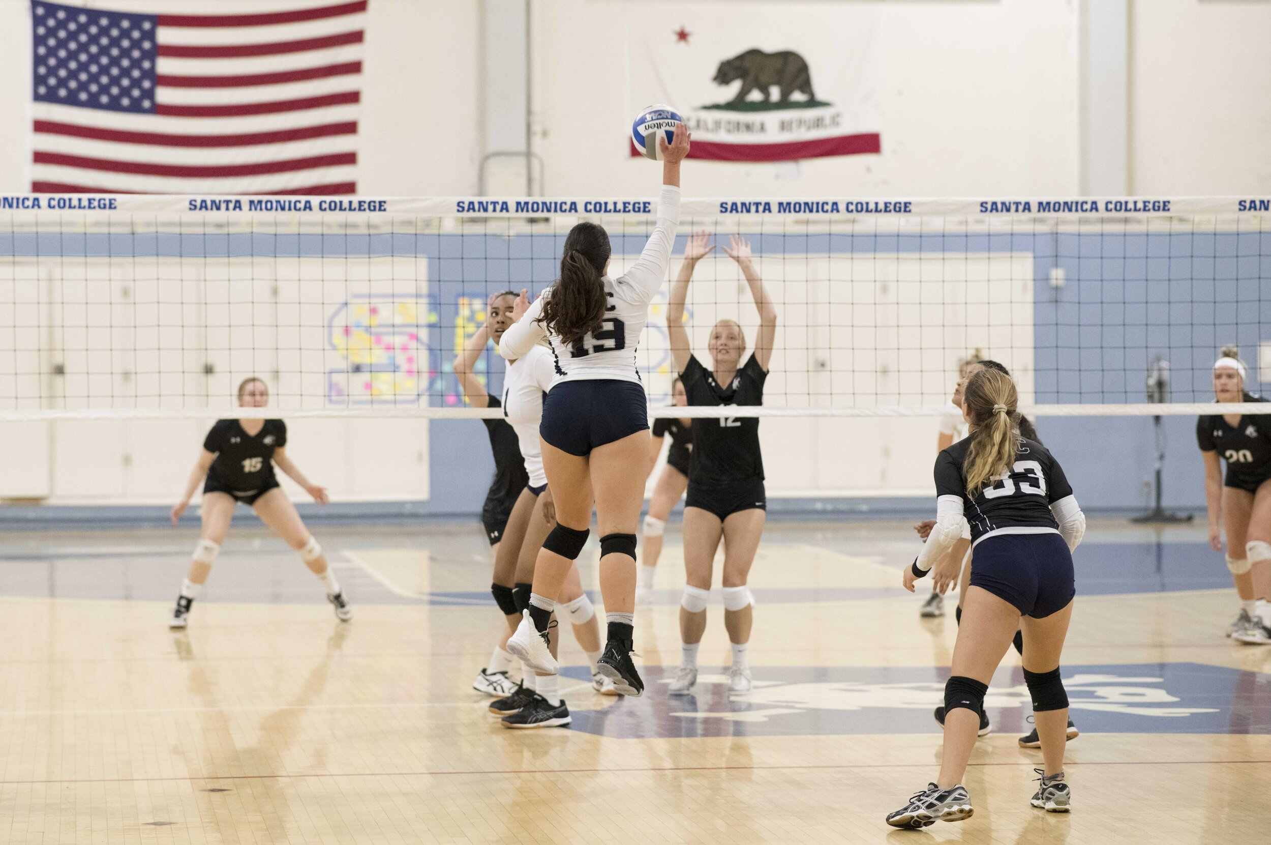 #19 Madison Reiner scores a powerful kill for the Corsair's. (Photo by Kevin Tidmore/The Corsair)