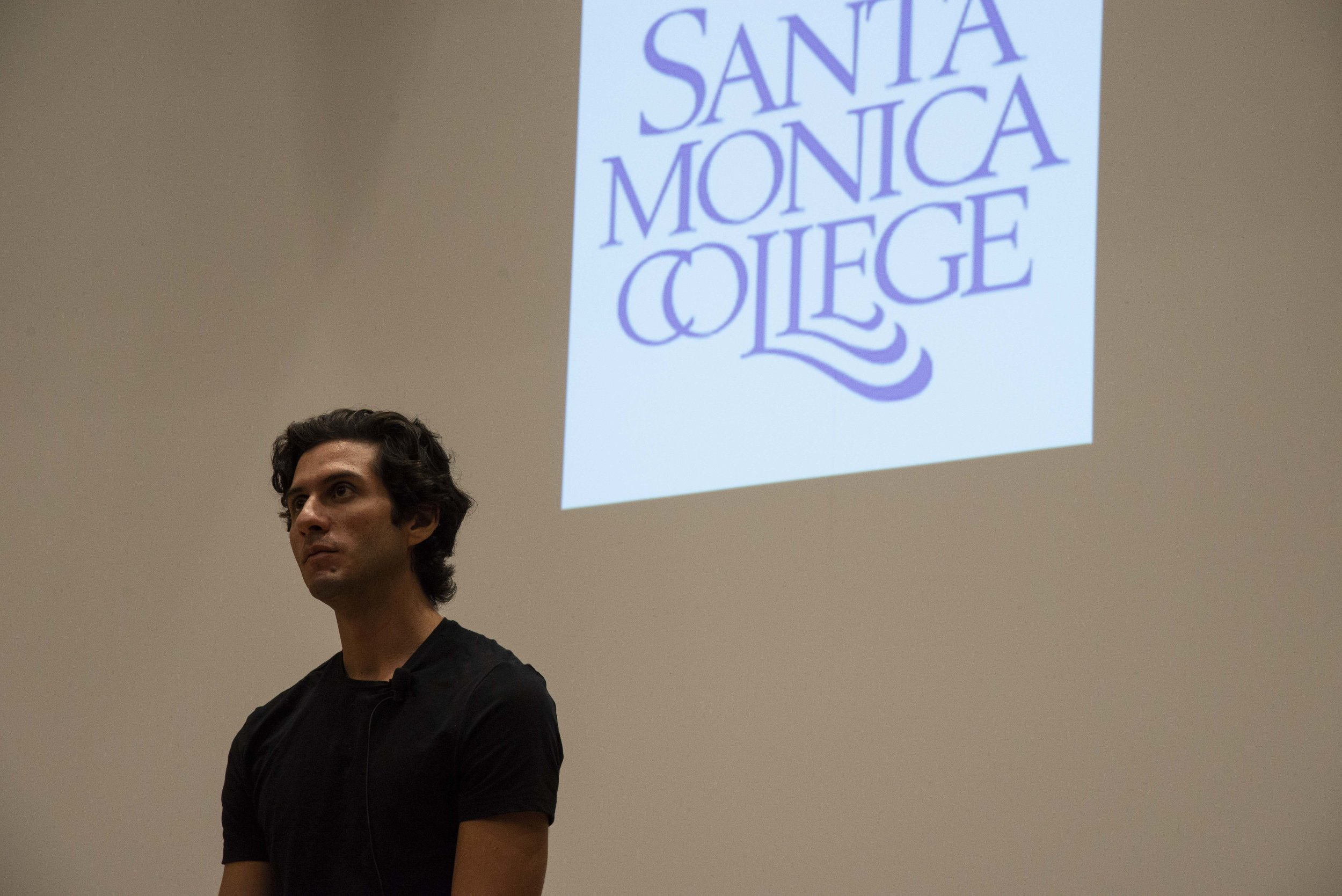 """Documentary film director/actor/activist, Eduardo Chavez at a screening of """"Hailing Cesar"""" on Thursday, September 26th, 2019, at SMC Student Services Center Orientation Hall. In the documentary, Eduardo, recounts growing up as the grandson of the legendary civil rights activist, Cesar Chavez. (Rachel O'Brien/The Corsair)"""