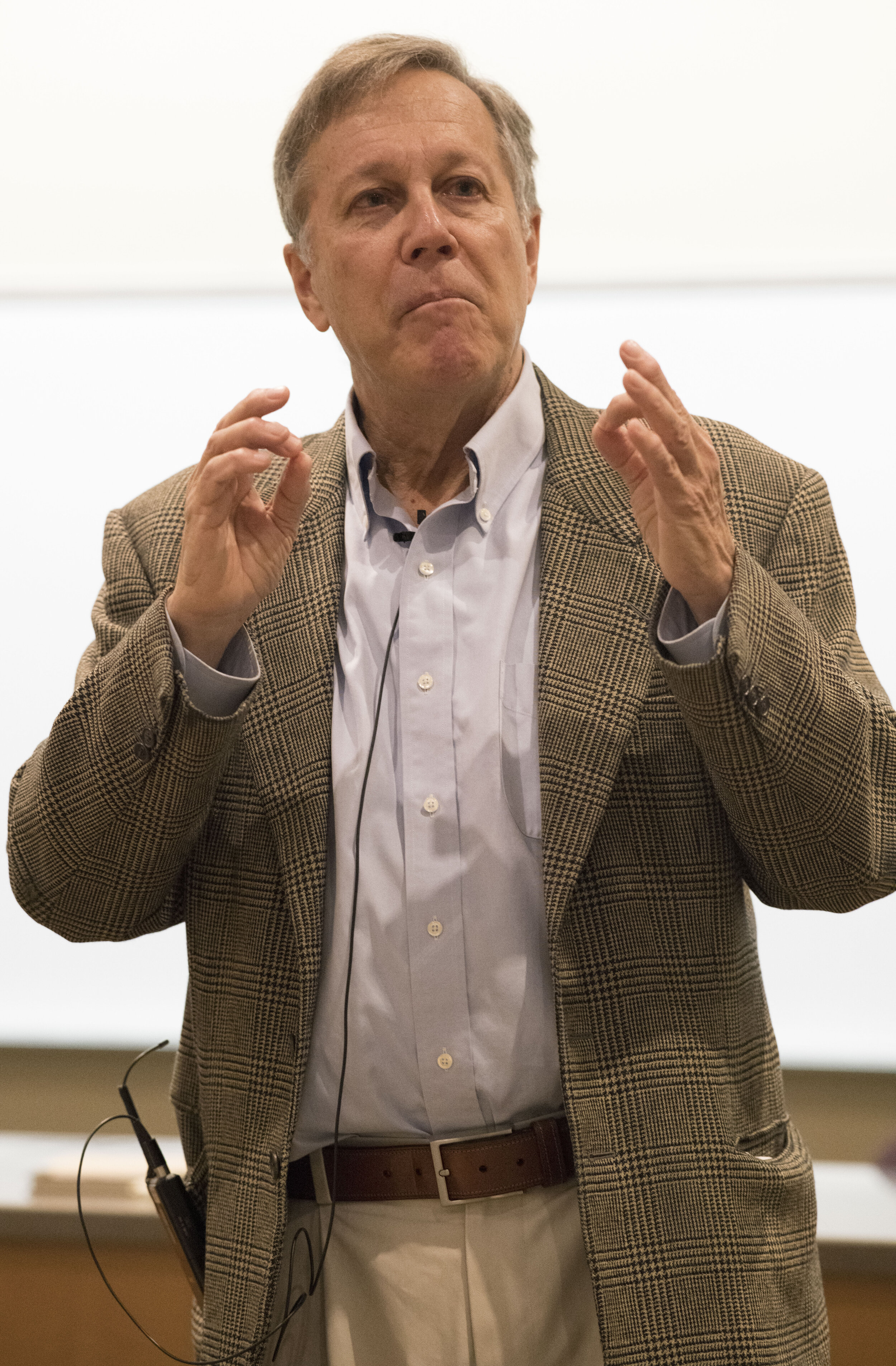 : Image of poet Dana Gioia describing what poetry means to him and way he became a poet on Thursday 10/03/2019 (Photo Kevin Tidmore The Corsair).