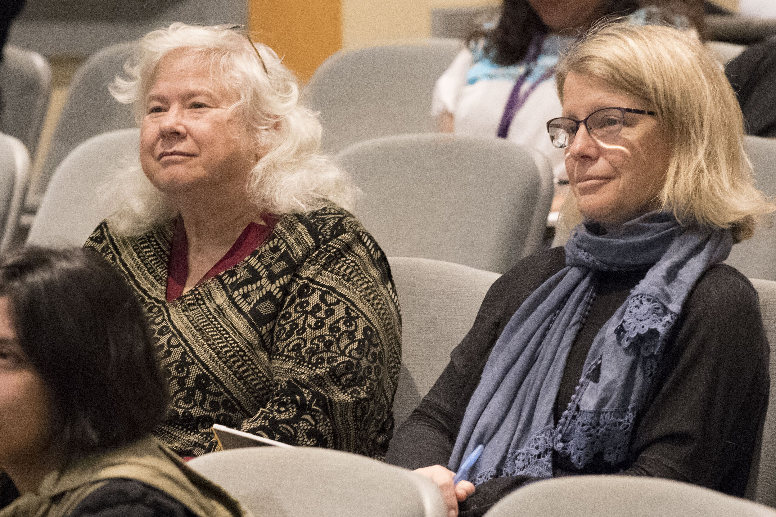 Image of Martha Hall right Administration Assistant English Dep. and Susan Turner Jones Left enjoying the Poetry by Poet Dana Gioia-Rebel Tongues & Poetic Blues. On Thursday 10/03/2019 (Photo Kevin Tidmore The Corsair).