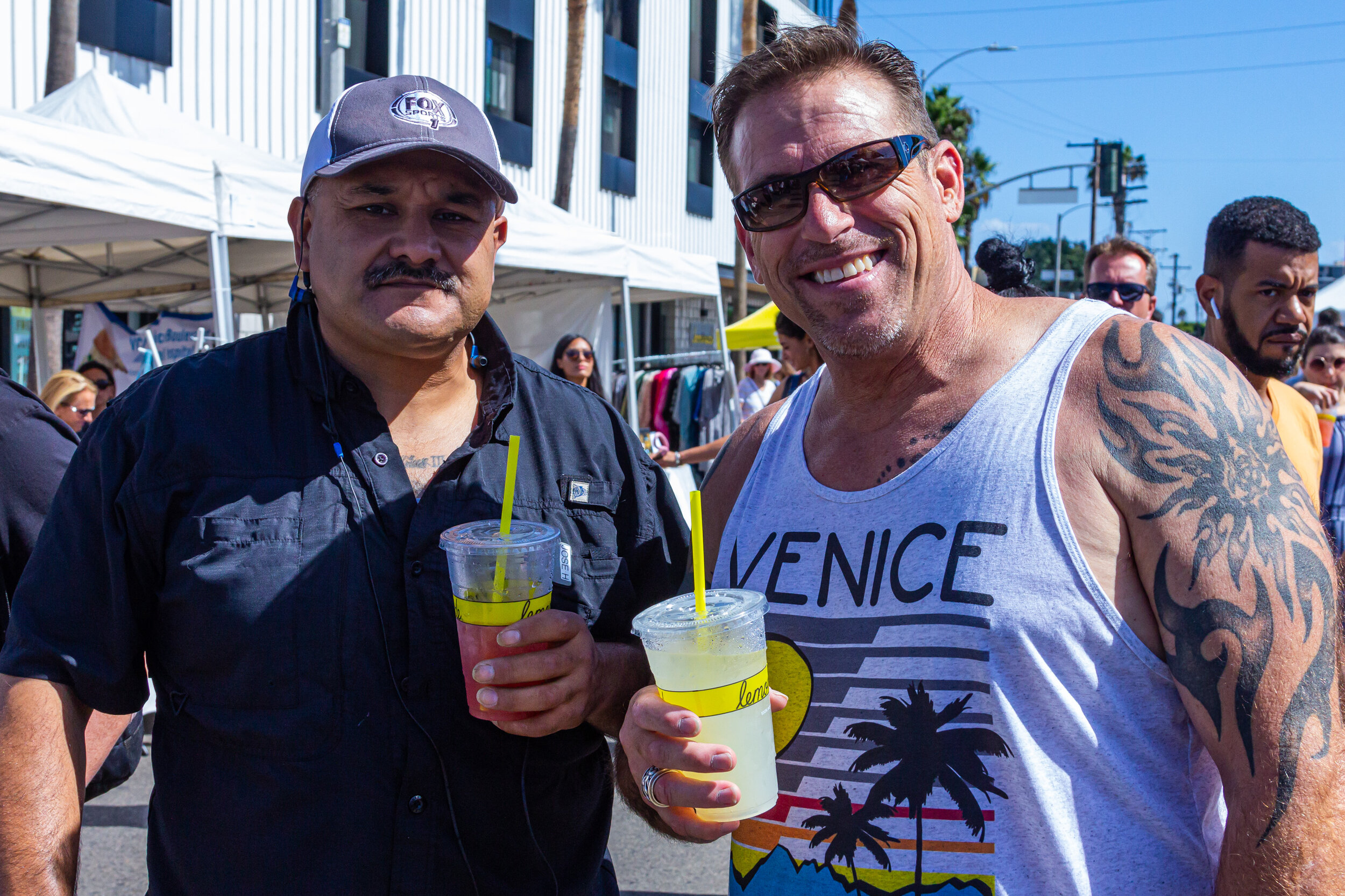 Venice locals, Jose Hernandex (left) and Brian McKinney, at the Abbott Kinney Festival, held the last Sunday in September for the past 35 years, on Abbott Kinney Blvd., Venice, California, on Sunday, September 29th 2019. (Marco Pallotti/The Corsair)