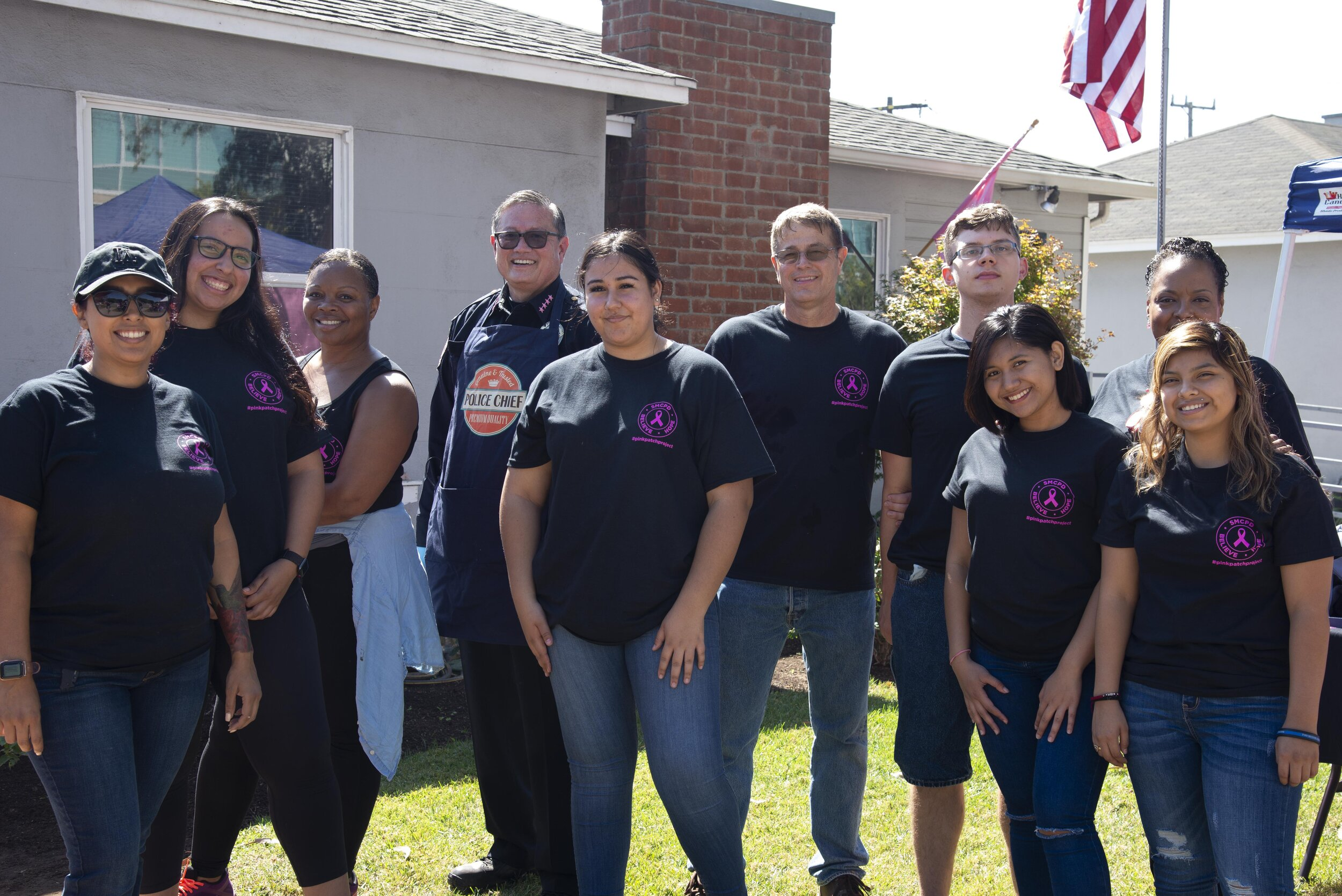 SMC Chief of Police, Johnnie Adams (fourth from left), along with the SMC Police Department staff and cadets, hosted the barbecue.  (Rachel O'Brien/The Corsair)