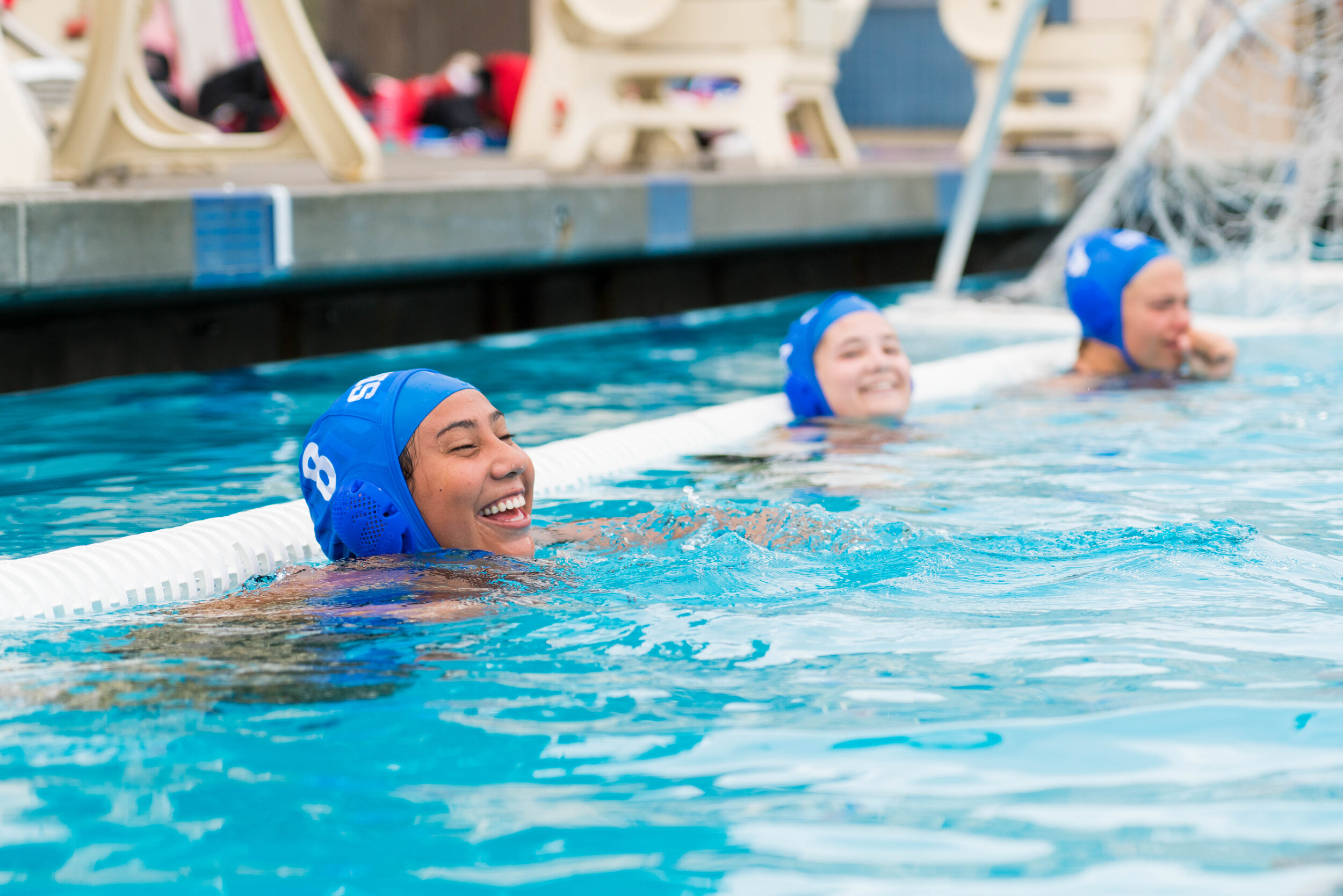 Even though their opponents were tough, The Corsairs were wearing smiles during their match against the SBCC Vaqueros at the Mt. SAC Mountie Classic Tournament hosted by Fullerton College in Fullerton, Calif. on September 28, 2019. Ruth Canales (8) in good spirits before the start of the second half. (Michael Waas / The Corsair)