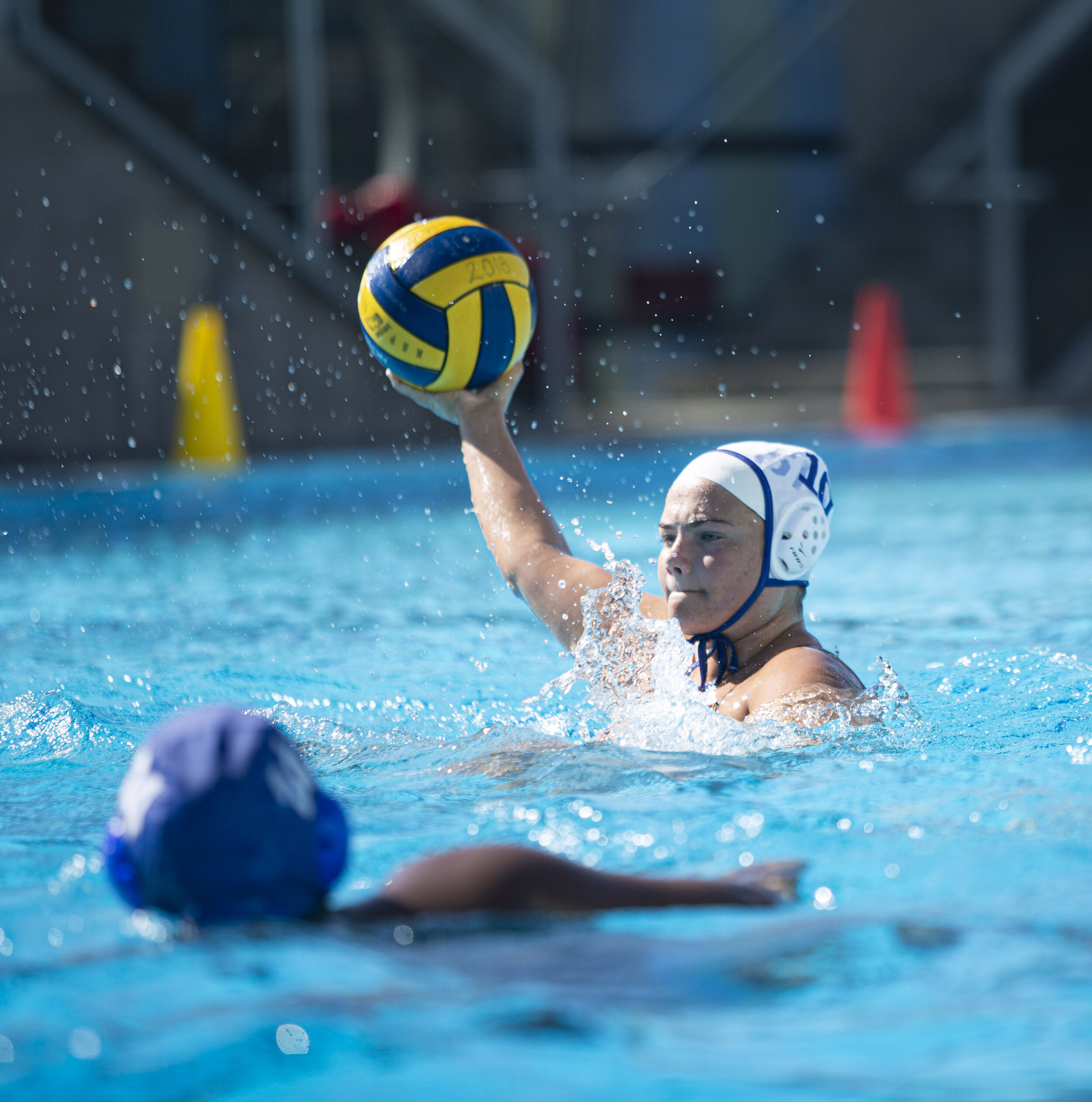 Grace Knight, from Santa Monica College (SMC) women's water polo team, during their practice on Monday, October 6, in Santa Monica, Calif.  (Yasamin Jtehrani / The Corsair)