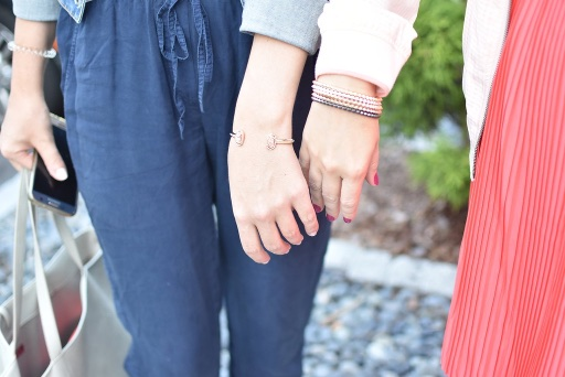 Faith and I, showing off our new bracelets!