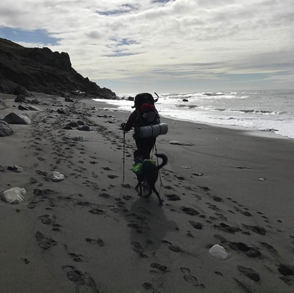 Kayla hiking the Lost Coast Trail with her dog, November 2016