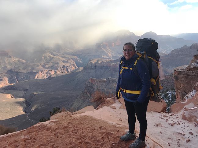 Heidi hiking the South Kaibab Trail in the Grand Canyon
