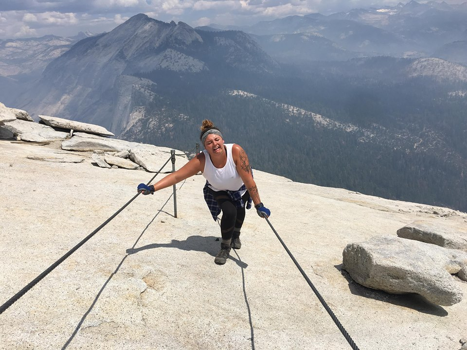 Mia on the cables of Half Dome