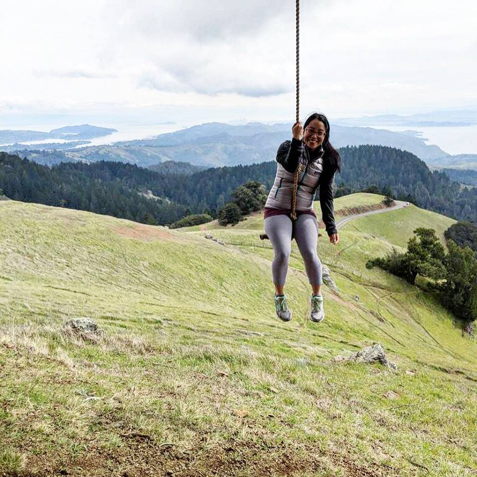a typical chillier hiking outfit of fleece pullover, thicker puffy vest, and Capilene midweight tights– Mount Tamalpais in Muir Woods National Forest