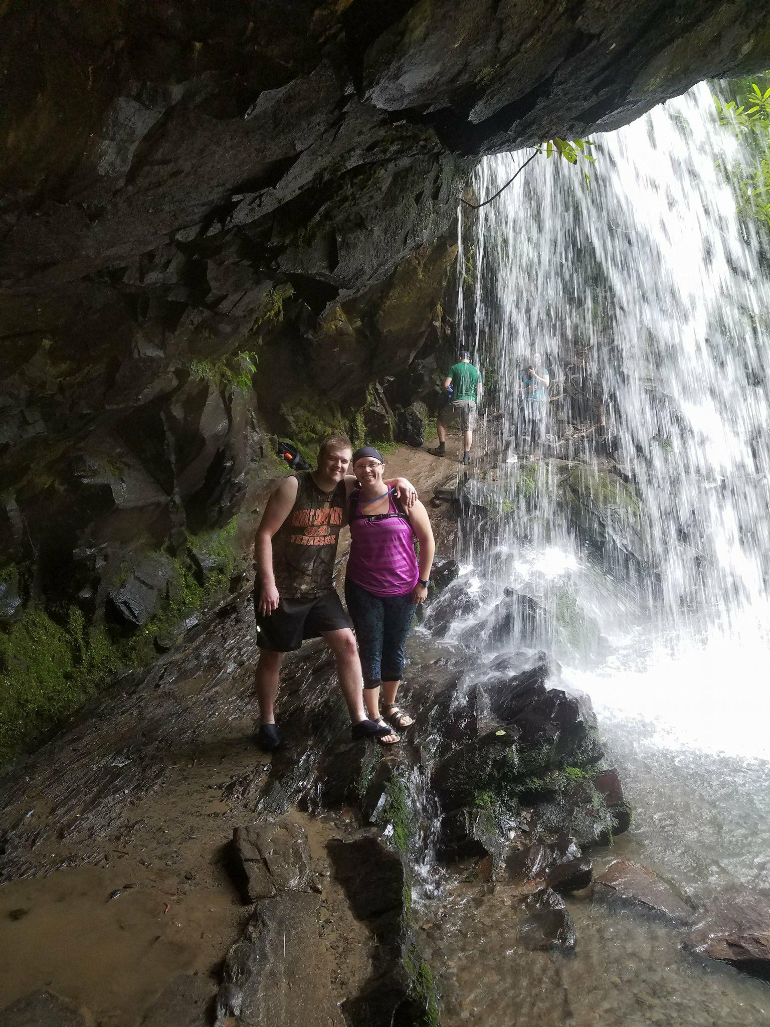 Elamon and her husband, Alec, hiking the Trillium Gap Trail in the Great Smokie Mountains National Park. The falls in the Background is Grotto Falls. The Smokies are one of their favorite places to visit in Tennessee. This is one of the places that inspired her to pursue a career in Natural Resource management.