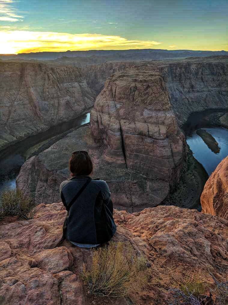 View of Horseshoe Bend as the sun sets