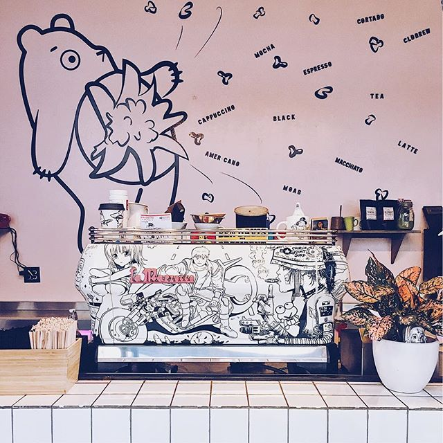Our iconic @lamarzocco machine custom painted with anime characters we all know and love. Paint job by @mikolajone #dtla #anime #akira #tankgirl #dtla #forbesbestespresso #supportlocal #coffee #espresso #noghostbears