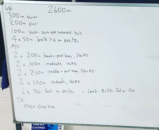 Hey team, this weeks session. Working on strength and pace development. Really important to understand how different paces feel so you can judge how fast to swim on race day.  Happy training!  #coach #triathlontraining #triathlon #tricoach #swim #motivated #swimcoach #swimming #tri  #swimpacing #