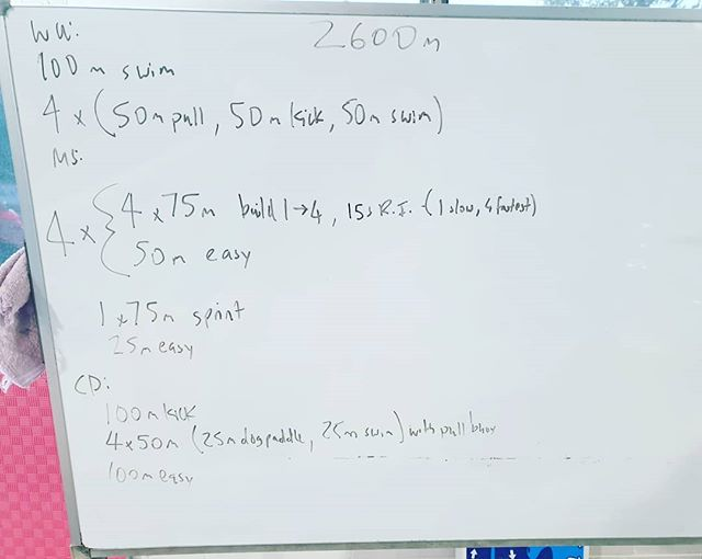 Today's session for those that want to relive it!  This is a great session for working on your pacing.  The 3rd 75m, in each set, should be at CSS or race pace.  Increase your effort under water to go faster as you work through the set, make sure you're not just increasing stroke rate to go faster!  #coach #triathlontraining #triathlon #tricoach #swim #motivated #swimcoach #swimming #tri #ilovecoaching #swimpacing