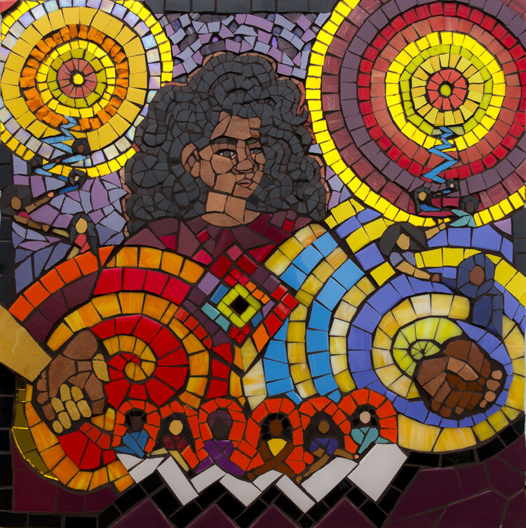 Stronger Together (2019)  tile and glass mosaic    2.5 x 2.5 ft    Imagining what a matriarchal, feminine idea of leadership and power could look like. Rejecting the notion of a vertical, hierarchal, patriarchal model of leadership, and recognizing that the most powerful strength comes from uniting as one force, connecting to our ancestors and our intuitions to help guide our way forward in our fight for liberation.    This piece was created for the Women's Initiative for Self Empowerment (WISE), a nonprofit in St. Paul, Minnesota that organizes leadership programs for immigrant and refugee teenage girls in the Twin Cities.