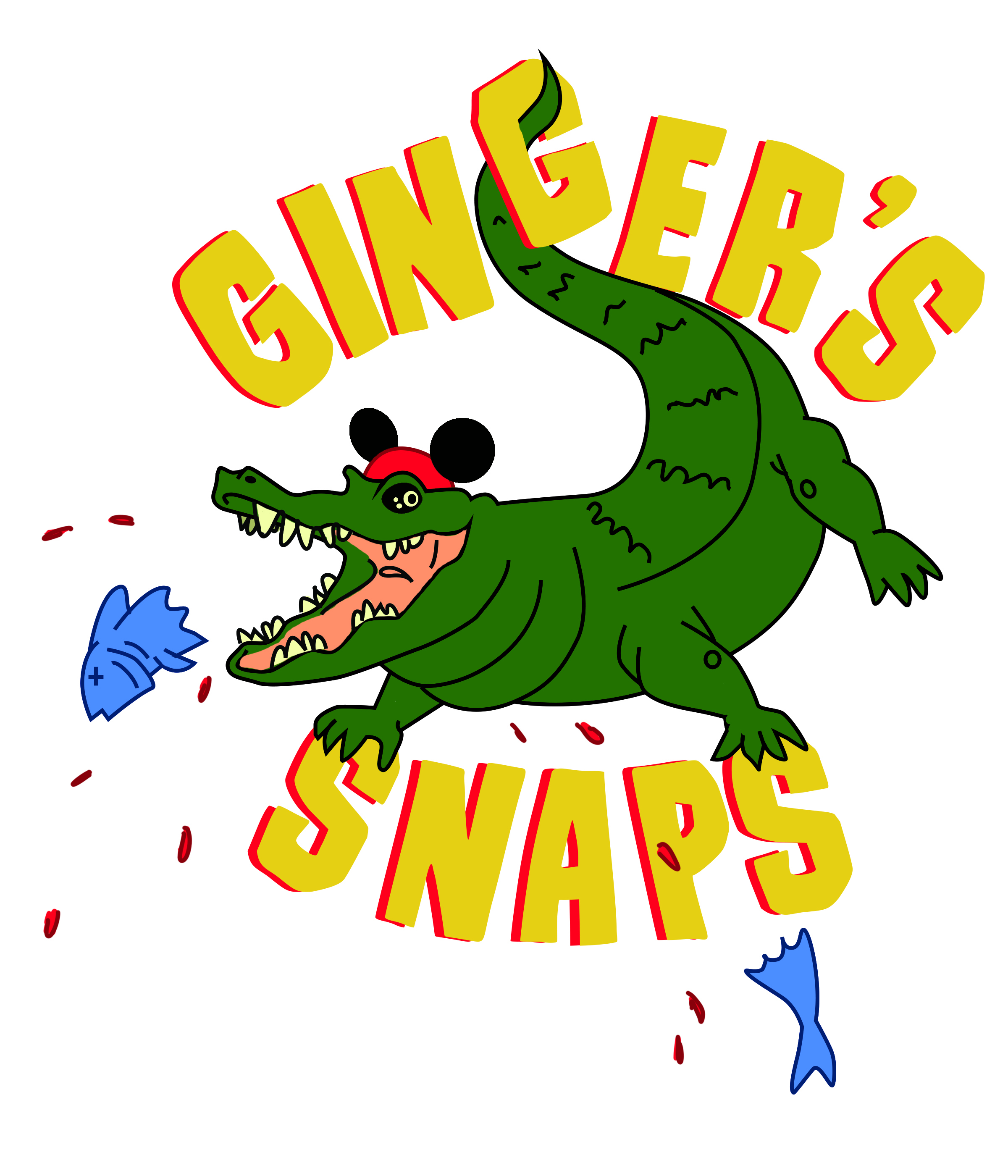 "This is a T-shirt logo I designed for a friend who competes in scavenger hunts at Disneyland. ""Ginger's snaps"" are among the many bad puns you can hear on the Jungle Cruise attraction. Design and illustration by me."