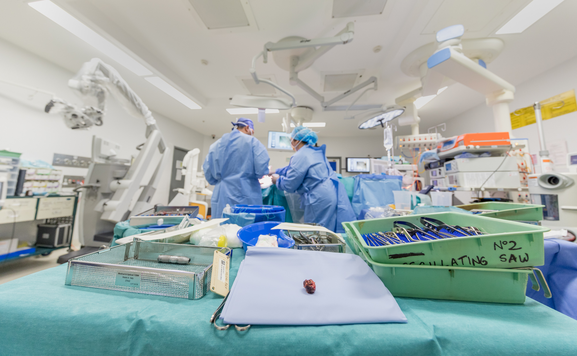 The tumour behind the patients eye took Dr Charlie Teo and his team 3 hours to remove. It was once the size of a golf ball but now drained of its source of blood, it's only half the size.