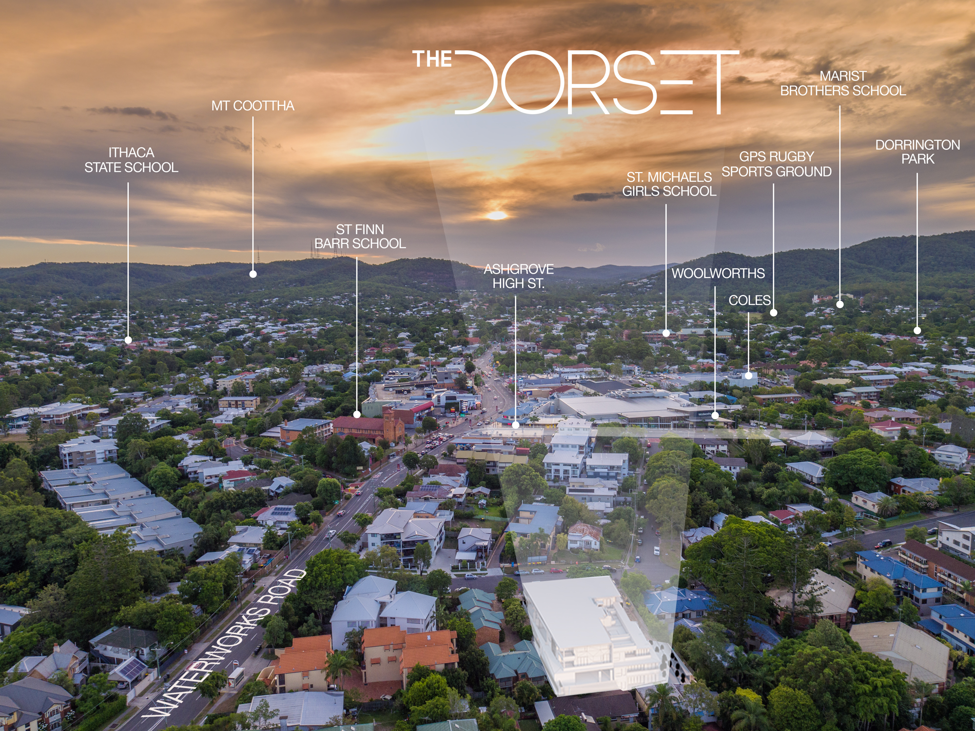 Aerial Photo of The Dorset with Mt Coot-tha in the background