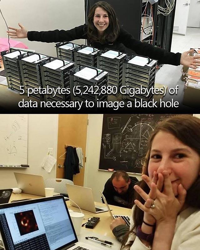 It's been a big day for science. And an even bigger day for women scientists.  Congratulations to Katie Bouman to whom we owe the first photograph of a black hole ever. Amazing work Kate. 3 years ago MIT grad student Katie Bouman led the creation of a new algorithm to produce the first-ever image of a black hole.  Today, that image was released.  More info: http://bit.ly/BHoleGuardian  2016 story: http://bit.ly/BlackHoleCSAIL  Here's to more women in science and getting credit for it.  #KatieBouman #WomeninSTEMAreAwesome #EHTBlackHole #EventHorizonTelescope
