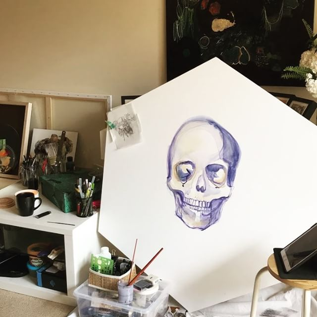 🌿💀Time lapse of today's painting progress. #skullpainting #botanicaobscura #kayleighgrovesart #hexagoncanvas #artistprocess #timelapsepainting #artistsoninstagram