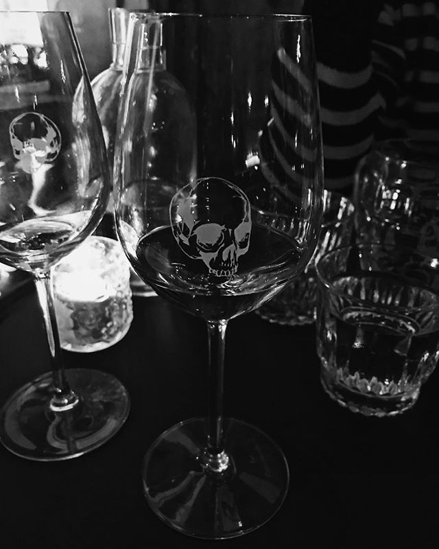 Who do I have to hit up in the future for my entire glass collection? #wineglassgoals #skullsoneverything #bellevillemelbourne #chefandsommelier