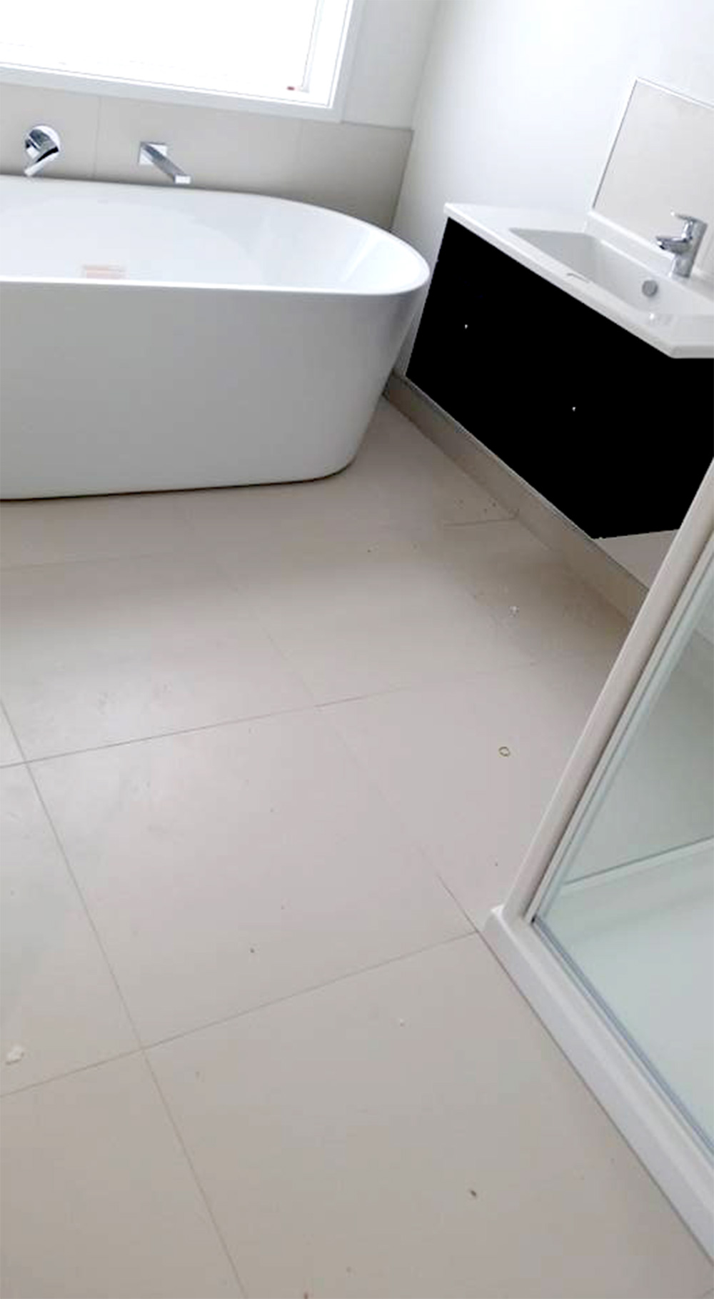 ~Complete bathroom renovation with large square cut sandy tiles