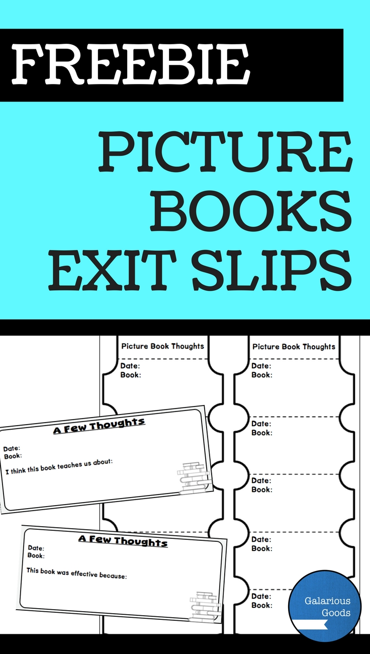 Free Picture Book Exit Slips from Galarious Goods