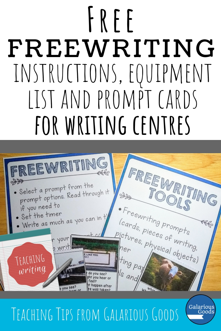 Including Freewriting in Your Classroom Writing Centres - a free organisational resource with extra writing prompt cards