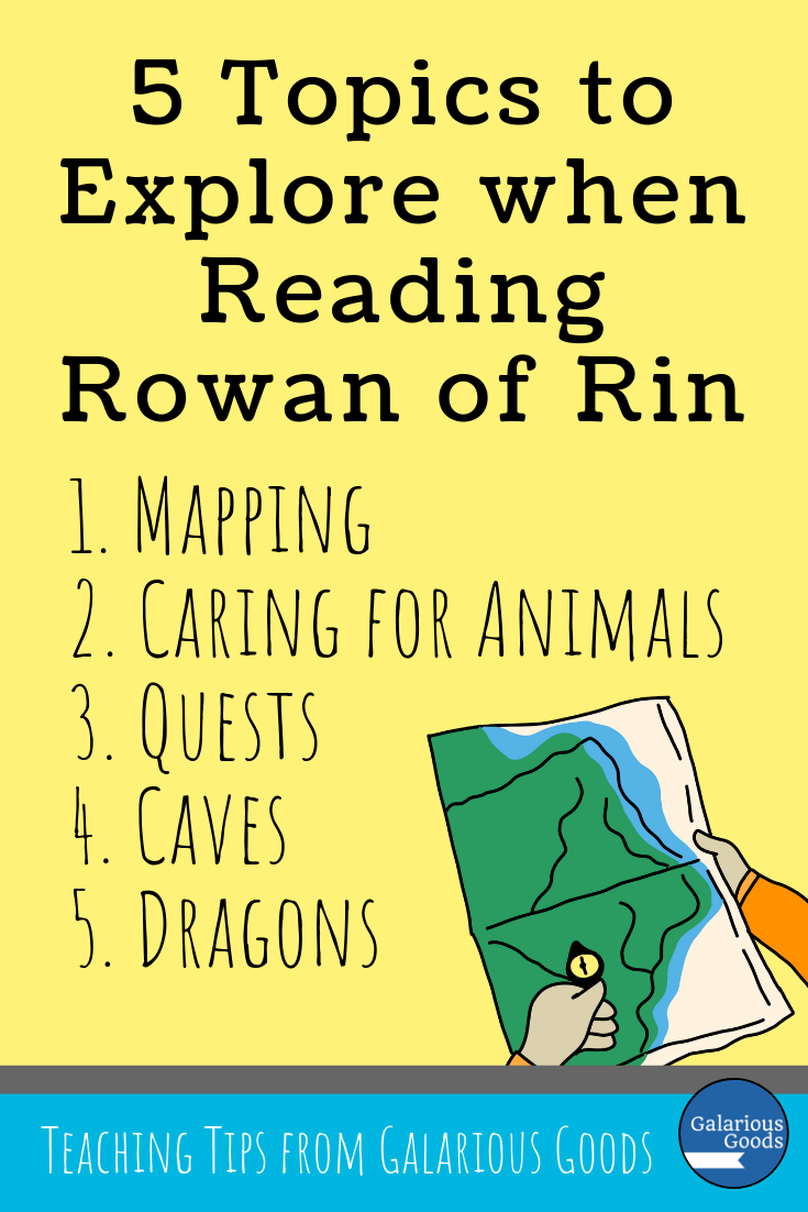 5 Topics to Explore when reading Rowan of Rin by Emily Rodda in your classroom. Covering mapping, caring for animals, questions, caves and dragons, this blog post covers teaching ideas for Rowan of Rin. A Galarious Goods blog post