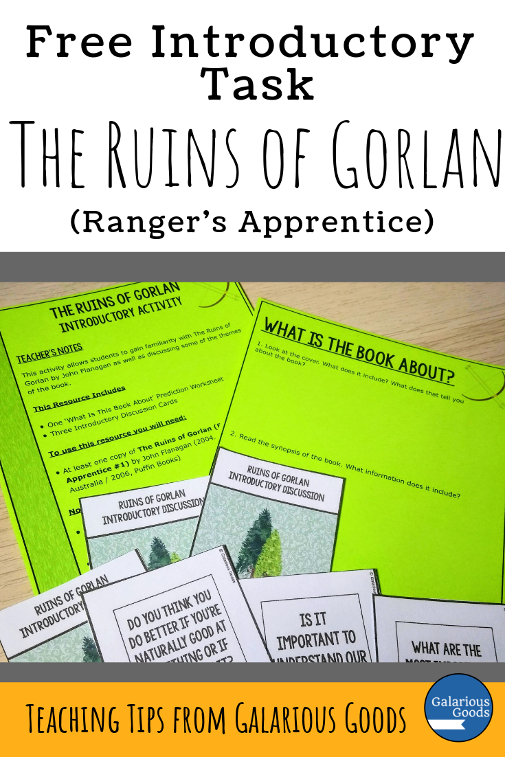 Introducing the Ruins of Gorlan. A look at the Ranger's Apprentice novel by John Flanagan and why it's a great class novel for middle grade readers. A Galarious Goods book blog post