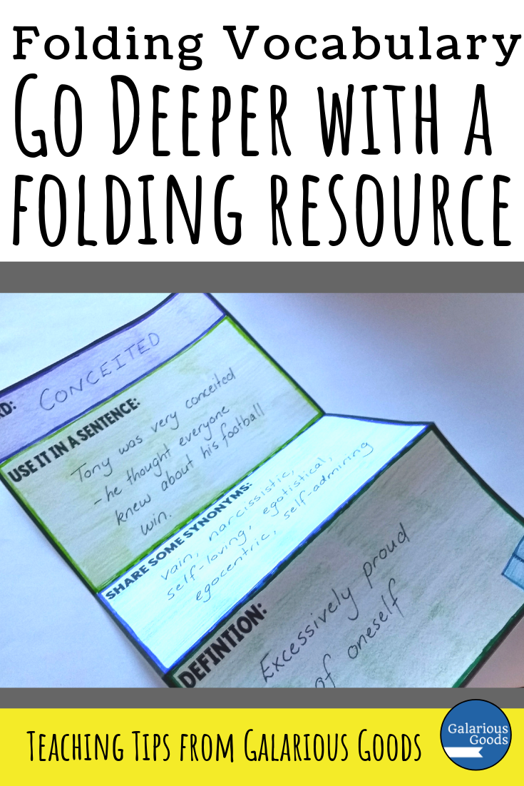 Go Deeper Vocabulary- 3 Ways to Use Folding Resources to Teach Vocabulary. Demonstrating an easy three part folding vocabulary resource which allows students to take a deeper look at difficult vocabulary or content words. A Galarious Goods blog post