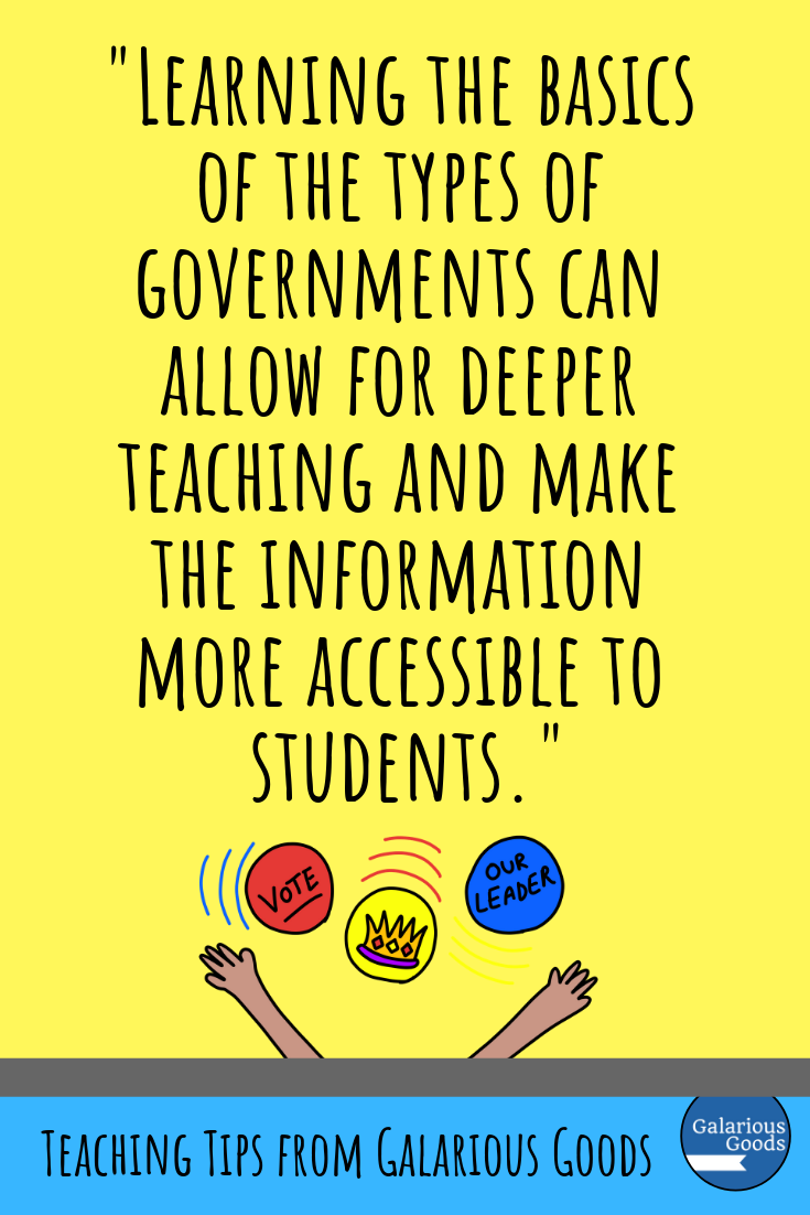 Different Types of Government and How We Can Teach Them. A look at a range of different types of governments, why it is important to learn about them and how we can teach them in an engaging way for our students. Perfect for social studies and government teachers and students. A Galarious Goods blog post