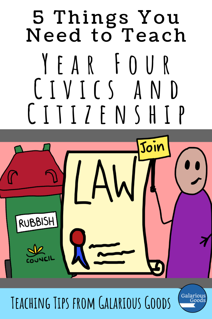 5 Things You Need to Teach Year Four Australian Civics and Citizenship. An overview of the Australian Civics and Citizenship HASS outcomes with teaching ideas for busy teachers. A Galarious Goods blog post