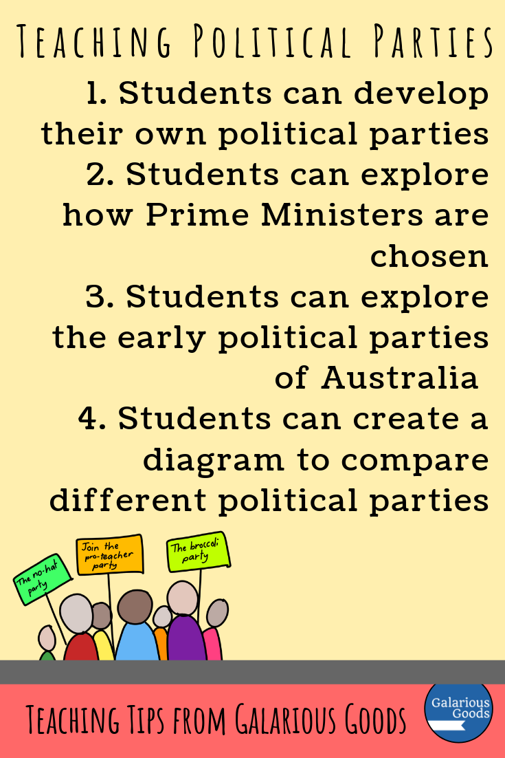 What are Political Parties, Why Do They Matter and How Can We Teach Them? A look at political parties in Australia and how we can create effective lessons to teach this sometimes complex topic. A Galarious Goods blog post